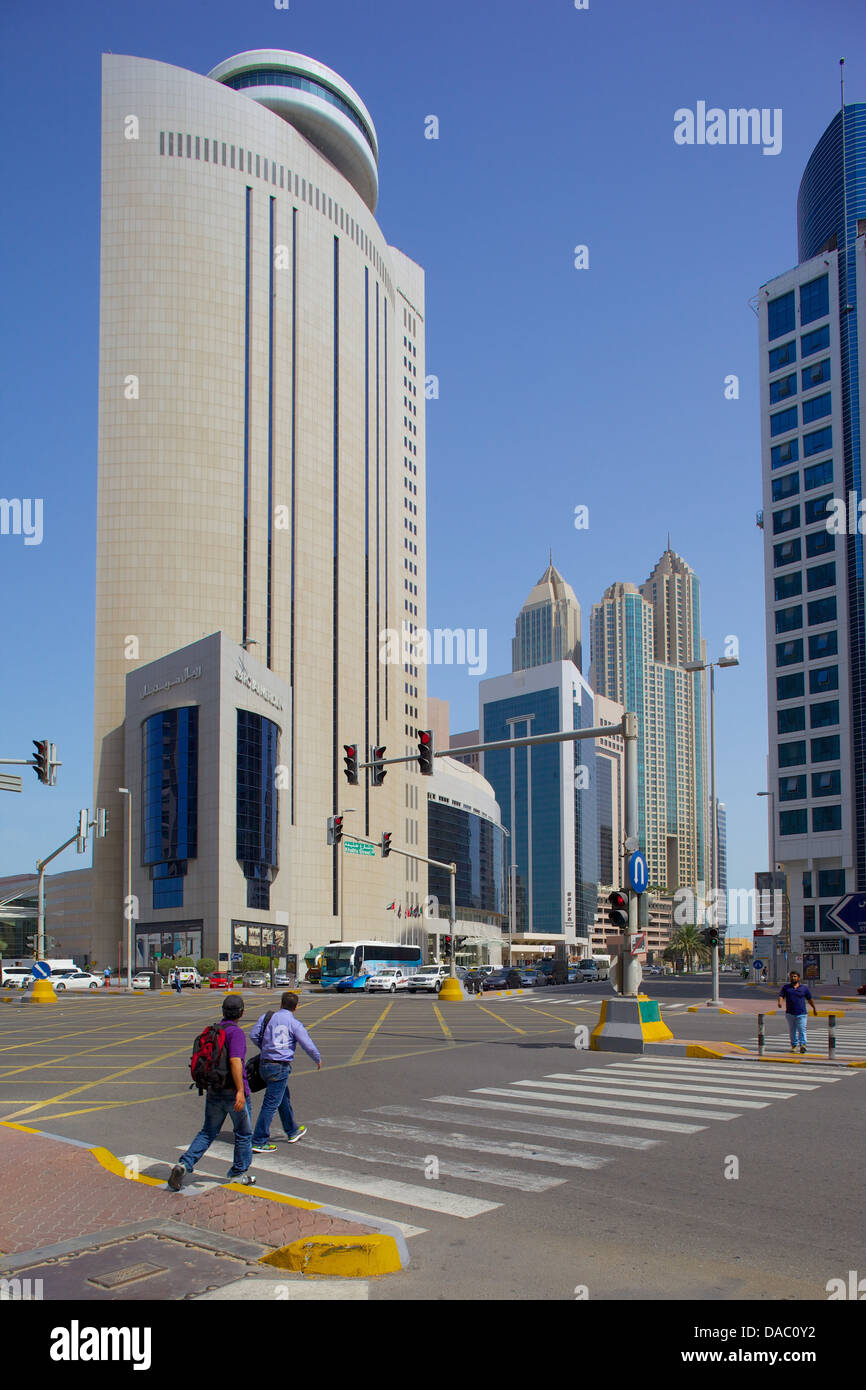 Royal Meridian Hotel and road junction, Abu Dhabi, United Arab Emirates, Middle East - Stock Image