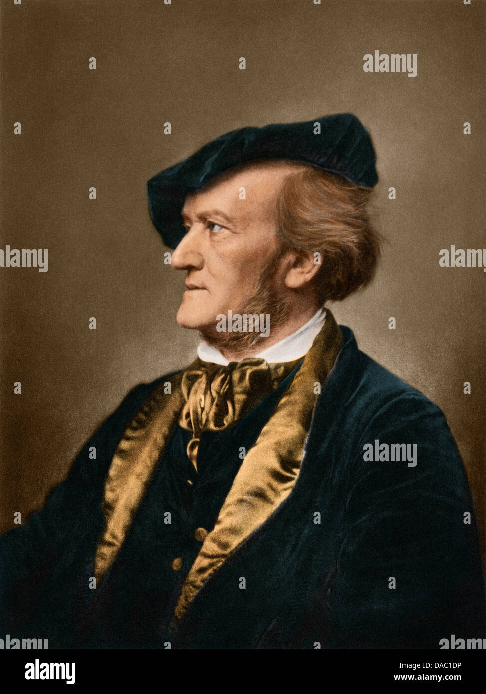 Portrait of composer Richard Wagner. Digitally colored photogravure - Stock Image