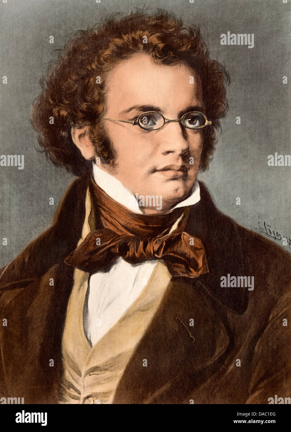 Portrait of composer Franz Schubert. Digitally colored illustration - Stock Image