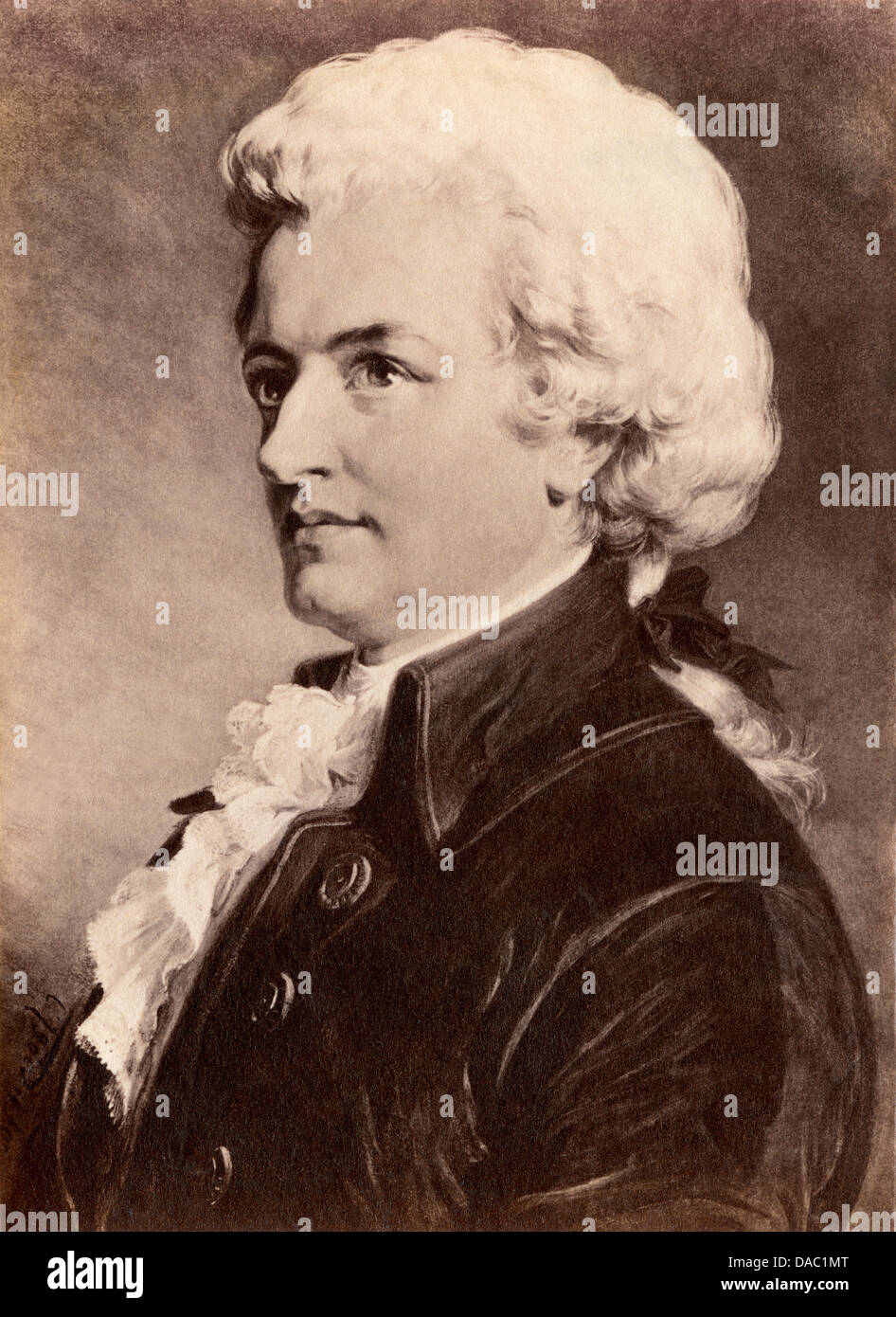 Portrait of Wolfgang Amadeus Mozart. Photograph of a painting - Stock Image