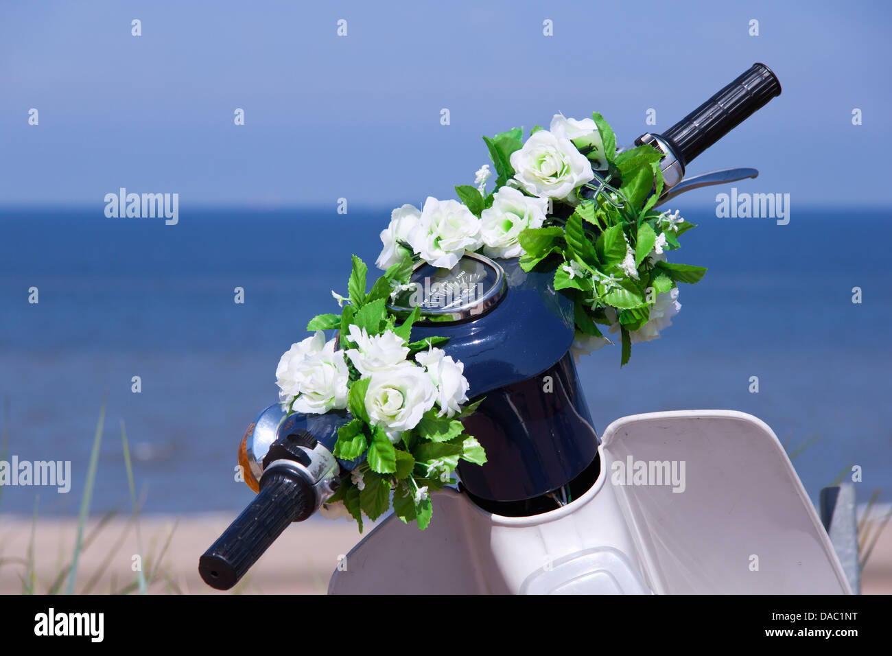 handlebars of a motorcycle adorned with flowers - Stock Image