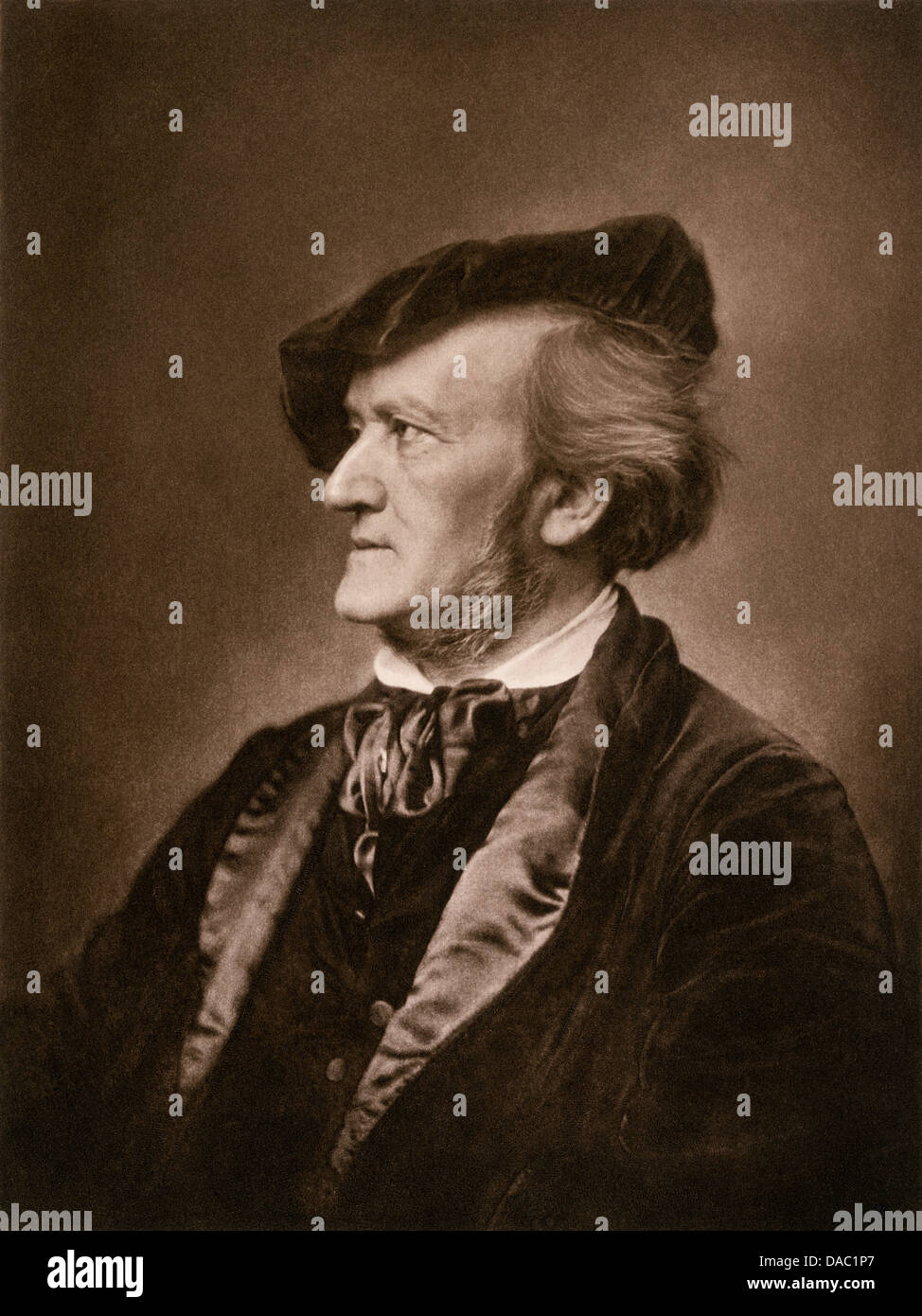 Portrait of composer Richard Wagner. Photogravure - Stock Image