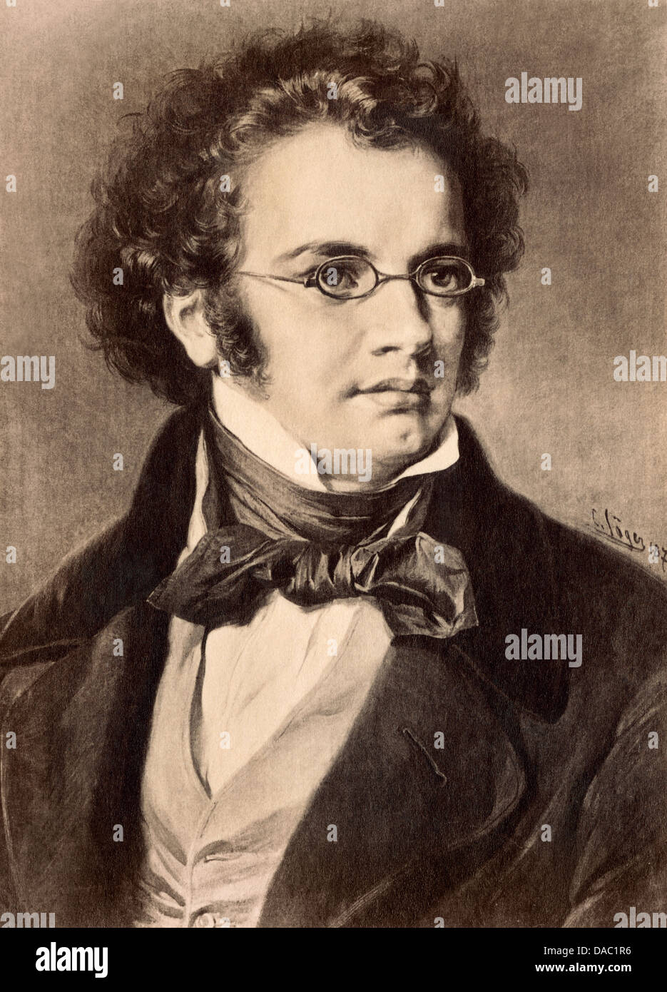 Portrait of composer Franz Schubert. Photograph of a painting - Stock Image
