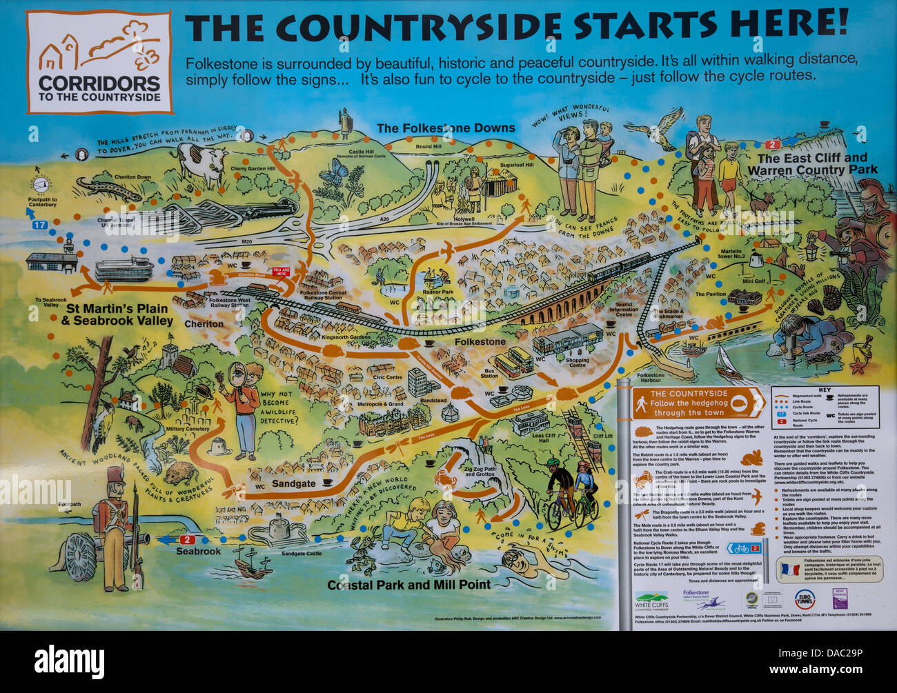 Map Of Folkestone Corridors to the Countryside Map of Folkestone in Kent   UK Stock  Map Of Folkestone