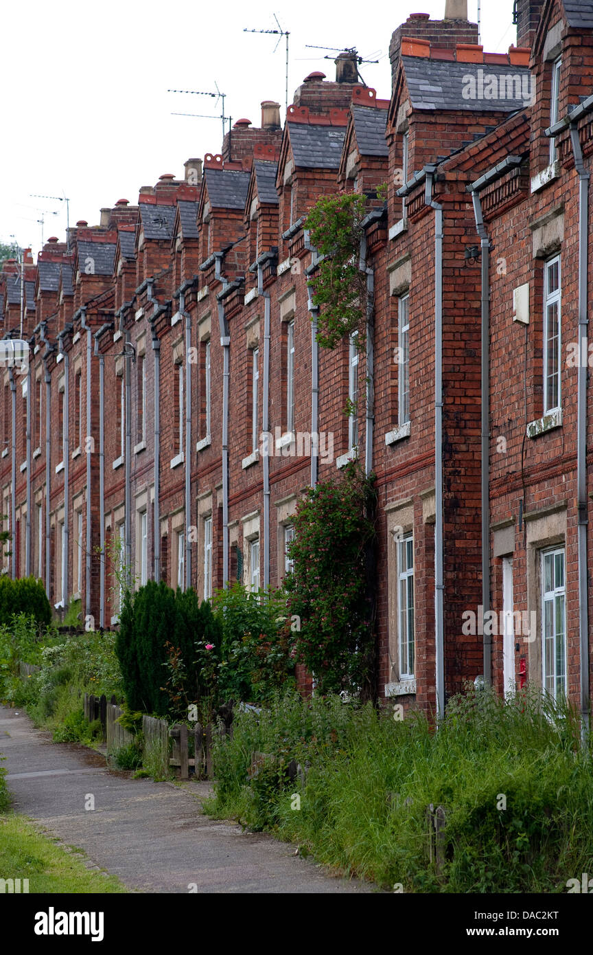 Row of terraced houses in Bolsover, Derbyshire, England. - Stock Image