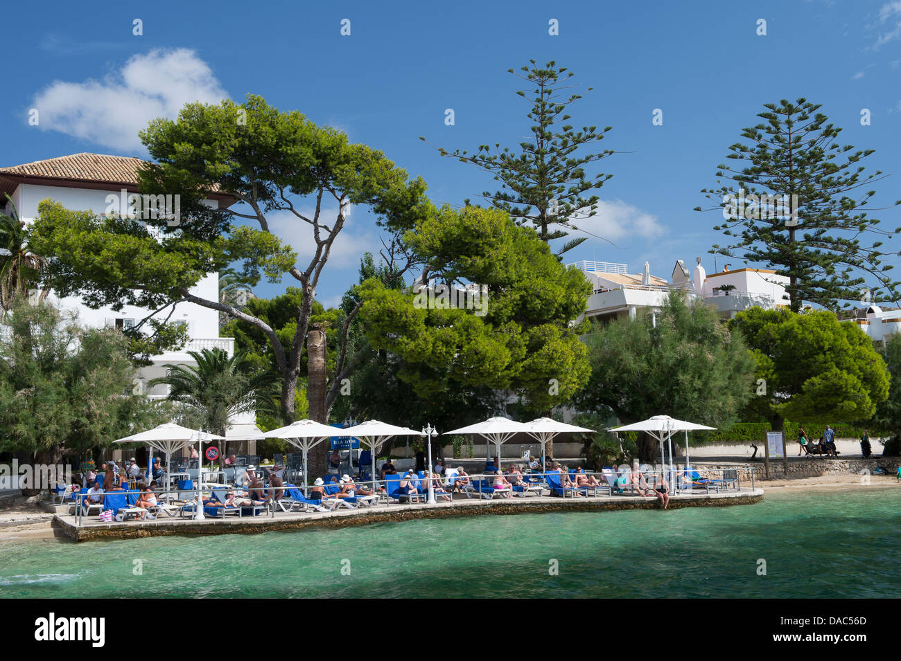 Holidaymakers sunbathing at the beautiful Puerto Pollensa (Port de Pollenca) in Northern Mallorca Majorca, Spain - Stock Image