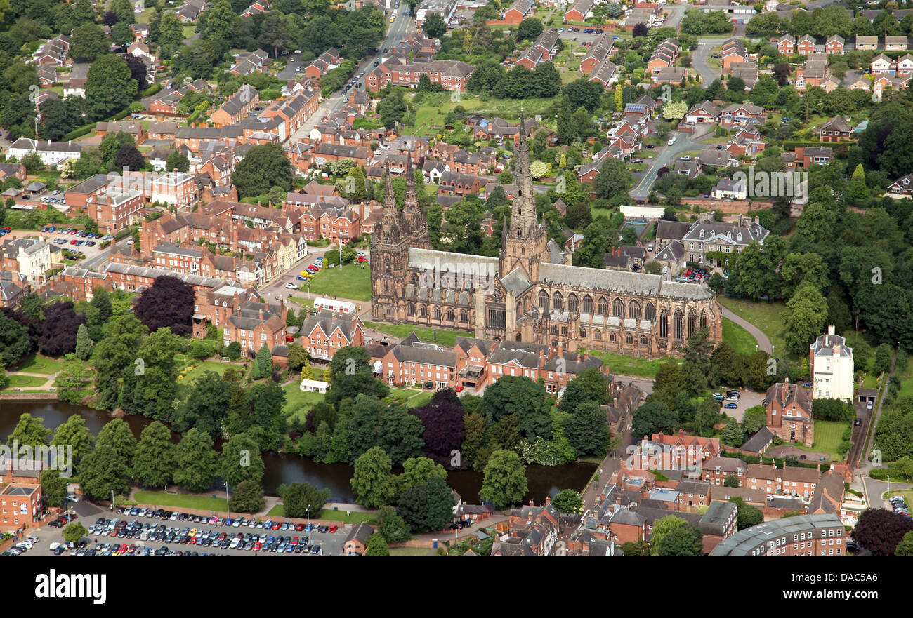 aerial view of Lichfield Cathedral church in Staffordshire - Stock Image