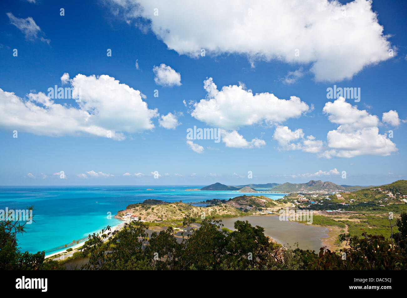 Caribbean landscape in Antigua seen from a hill with Darkwood Beach to the left. Stock Photo