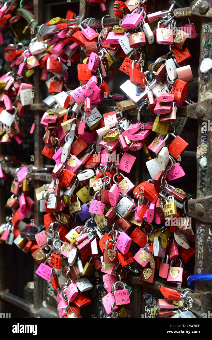 Love locks at Juliet's house Verona Italy - Stock Image