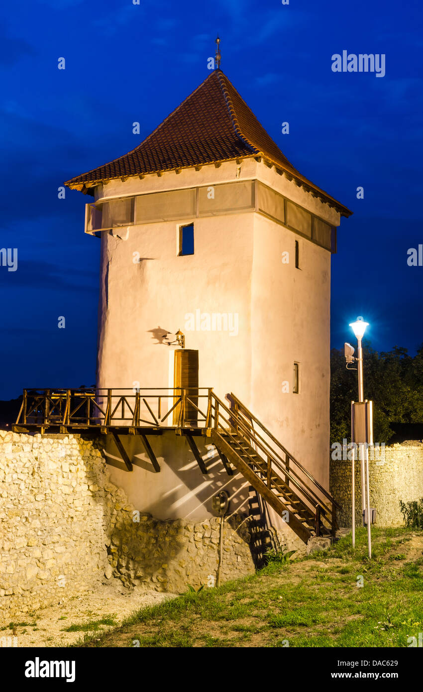 Brasov fortress wall ruins and a fortified tower, dating from, medieval times. Transylvaina, Romania. - Stock Image