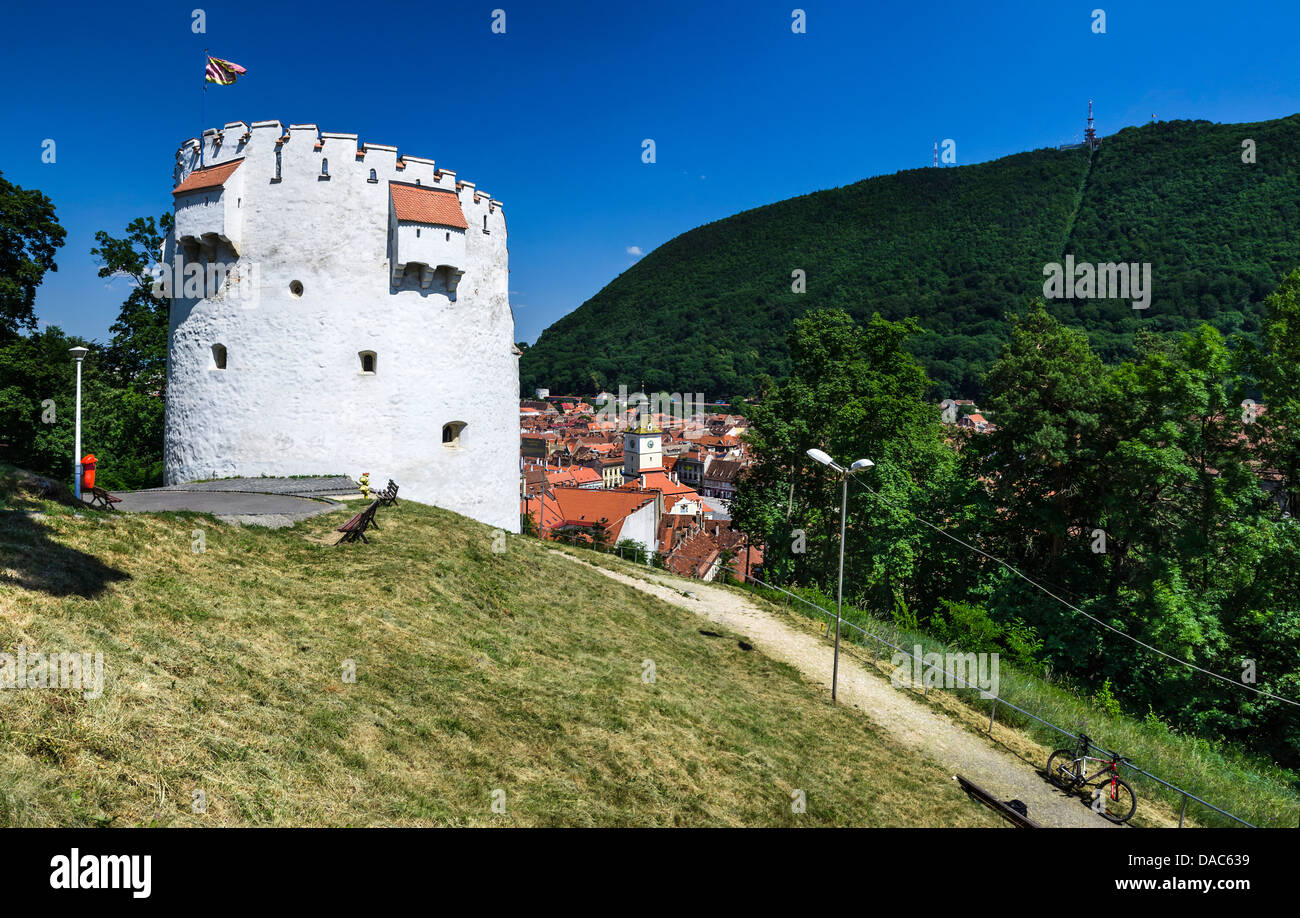 White Tower bastion was erected in semicircular shape in medieval times to protect the Fortress of Brasov. - Stock Image
