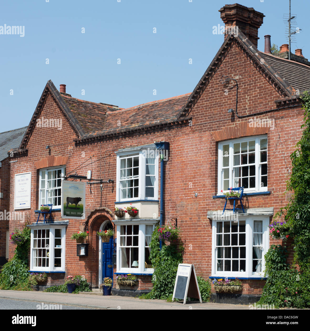 The exterior of the Bull Inn, an Adnams pub in the village of Cavendish in Suffolk, England. - Stock Image