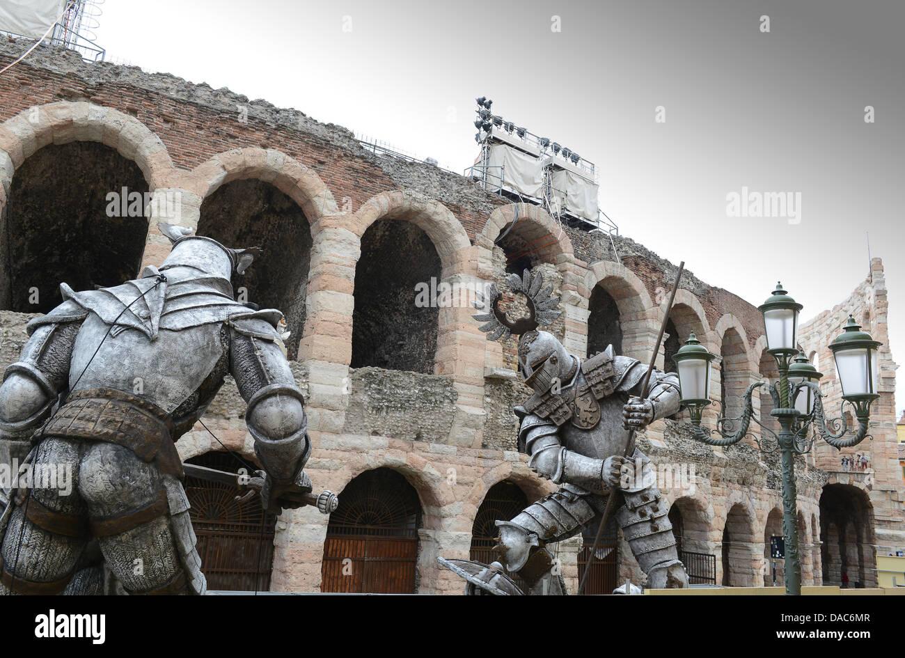 Verona Italy props for the 2013 opera season outside the Arena di Verona - Stock Image