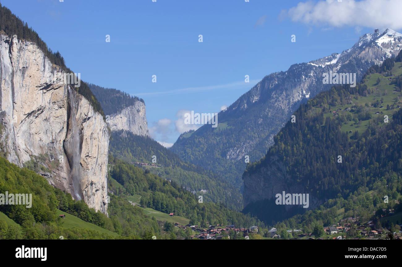 lauterbrunnen waterfall valley  Panorama - Stock Image