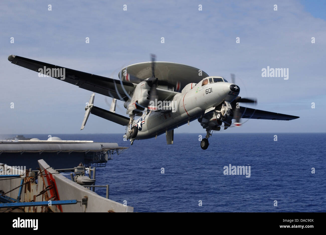 An E-2C Hawkeye assigned to Airborne Early Warning Squadron (VAW) 115 'Liberty Bells' - Stock Image