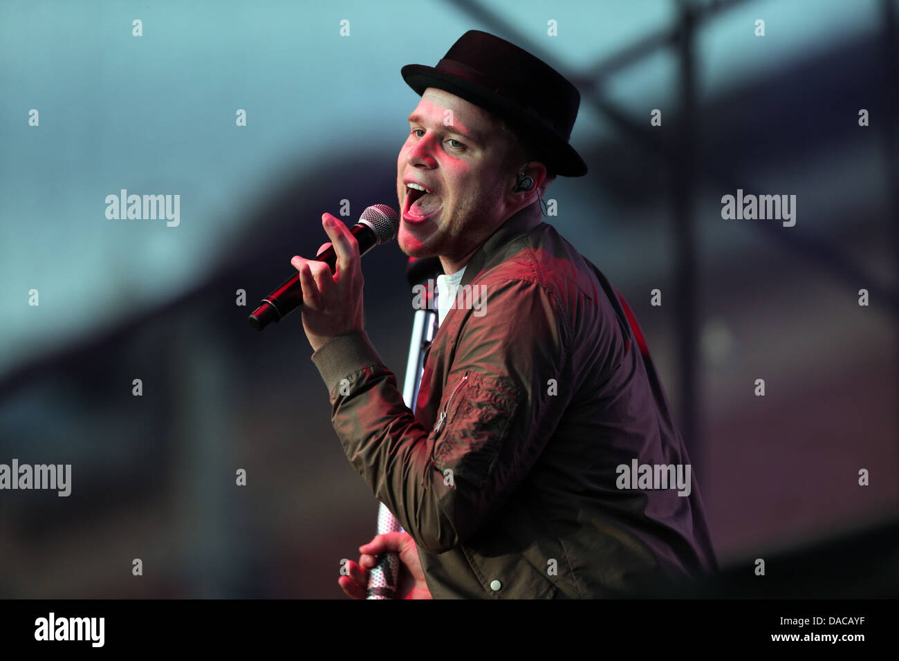 Singer Olly Murs performing live in Middlesbrough's Centre Square. - Stock Image