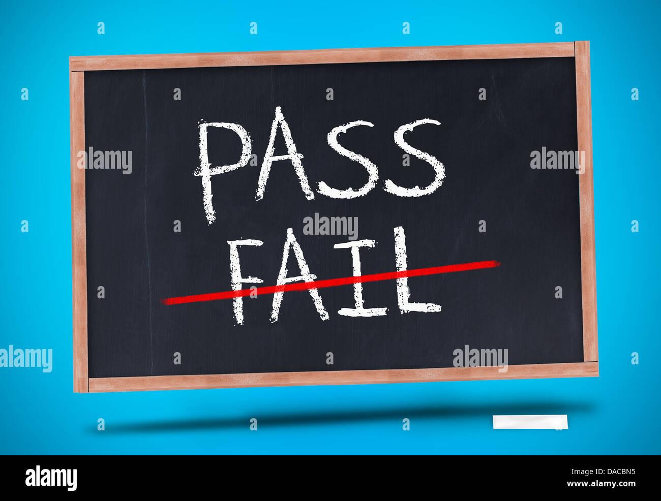 Pass and fail written on blackboard - Stock Image