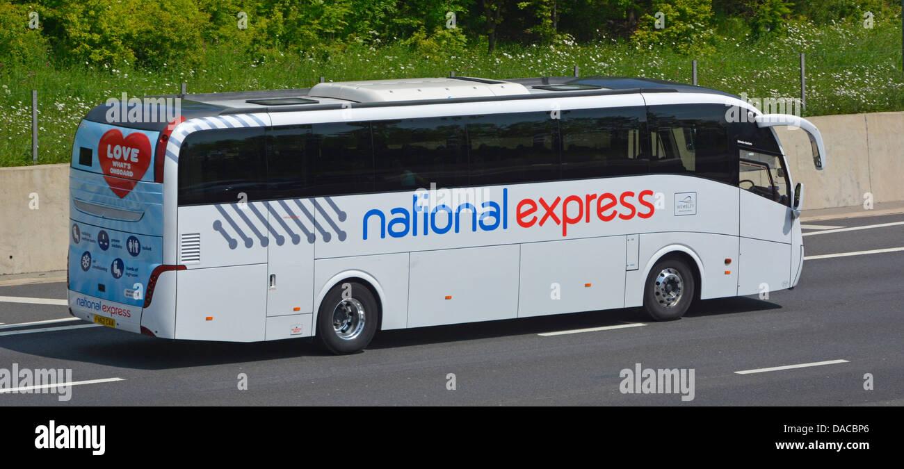 National Express coach on M25 London orbital motorway - Stock Image