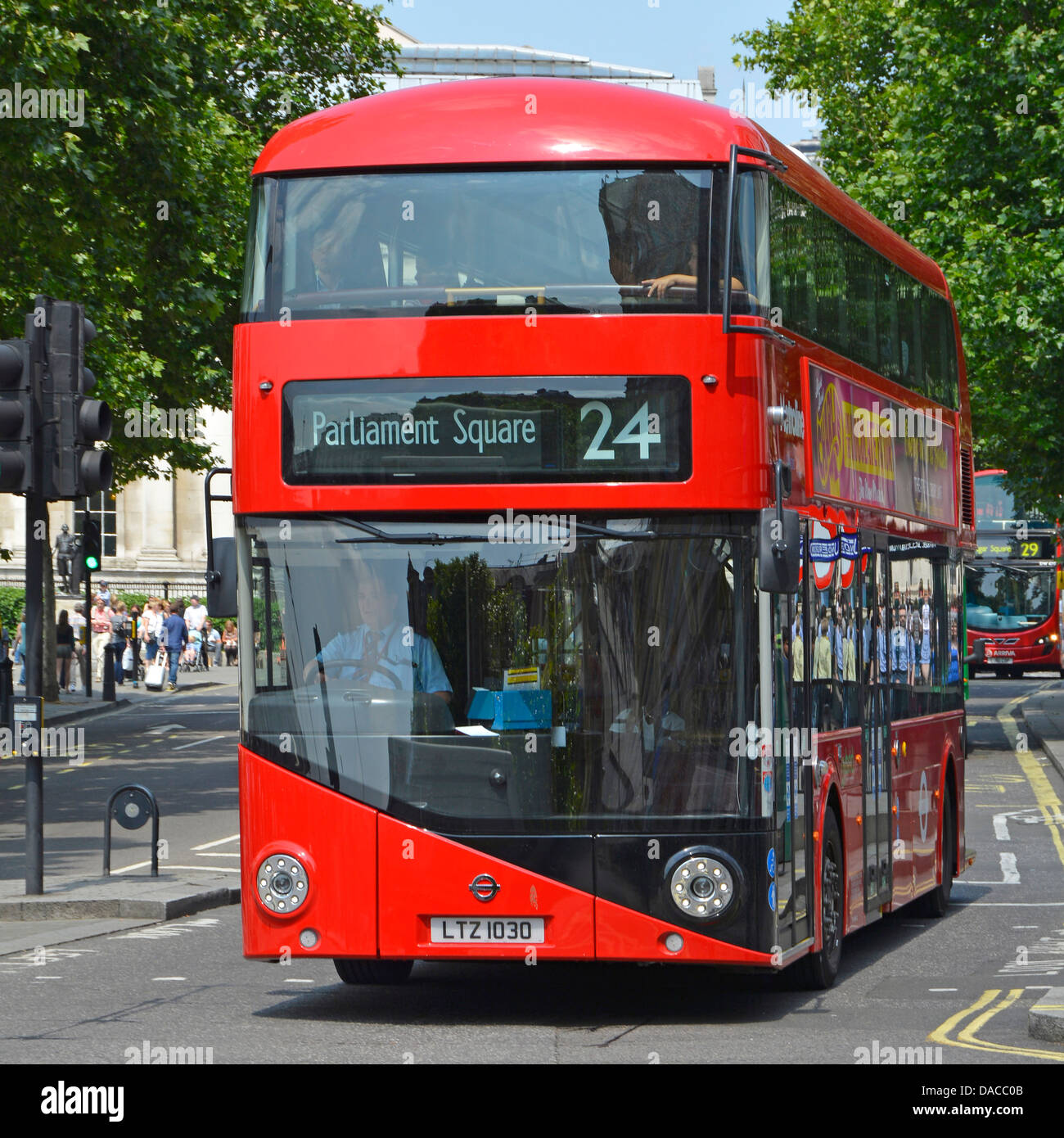 New 2012 London bus variously referred to as a Routemaster or Boris bus on route 24 - Stock Image