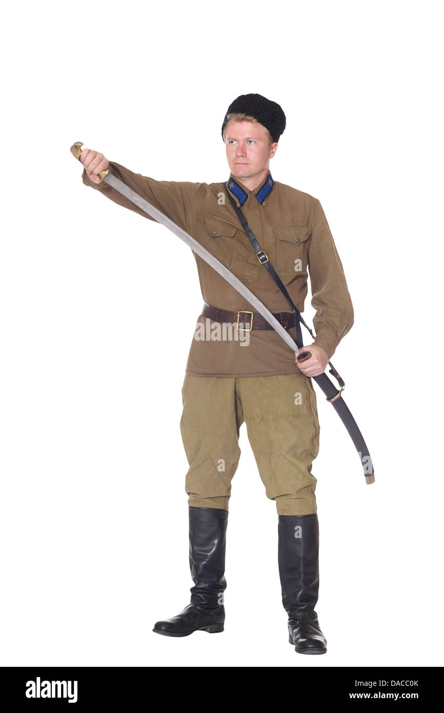 Young man wearing clothes of Red Army cavalry, isolated on white - Stock Image