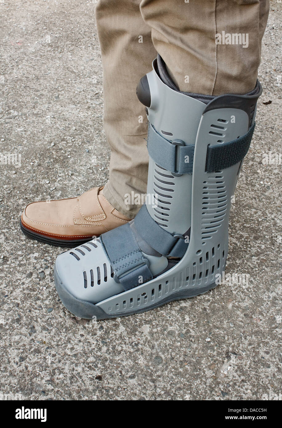 Compression boot on ankle which has recently suffered injury or surgical operation - Stock Image