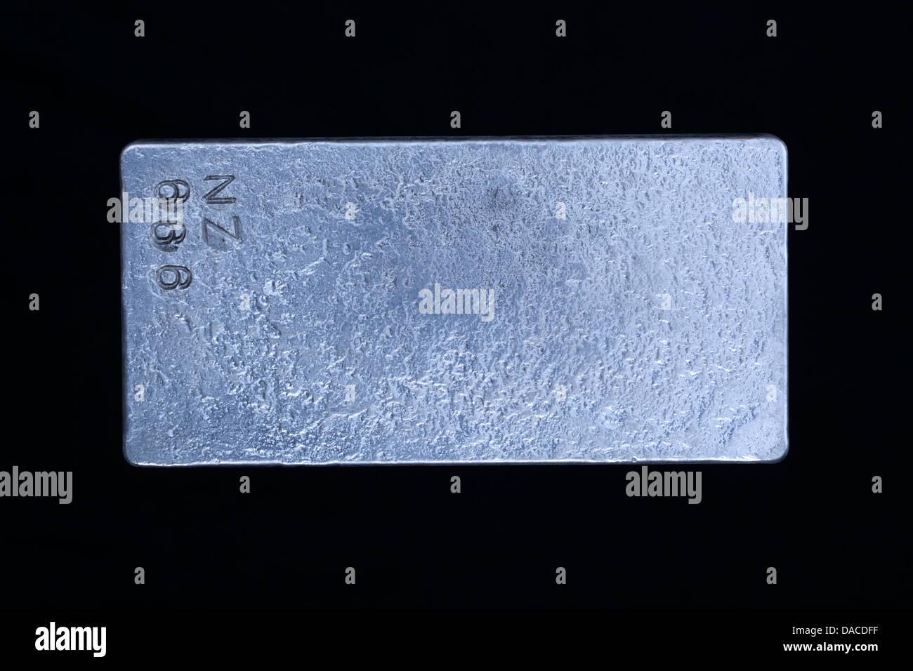 Zinc ingot, Zn - Stock Image