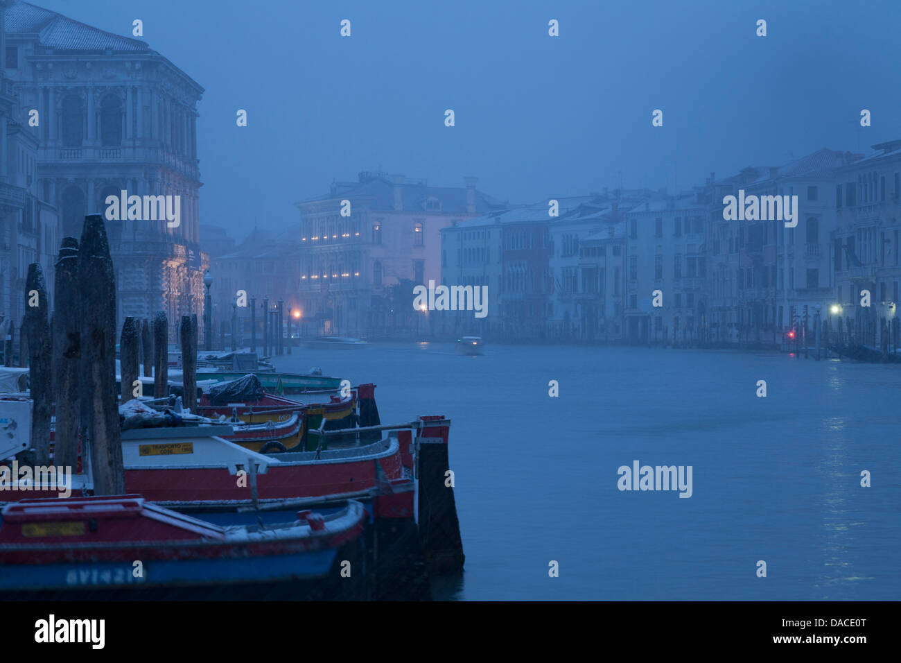 Heavy snowing, Canale Grande, Venice, Italy - Stock Image