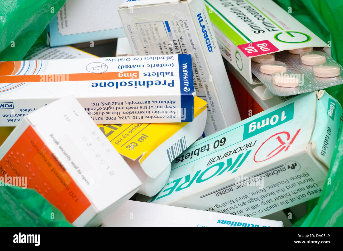 A bag of unused medicines  waiting to be returned to the pharmacist for disposal - Stock Image