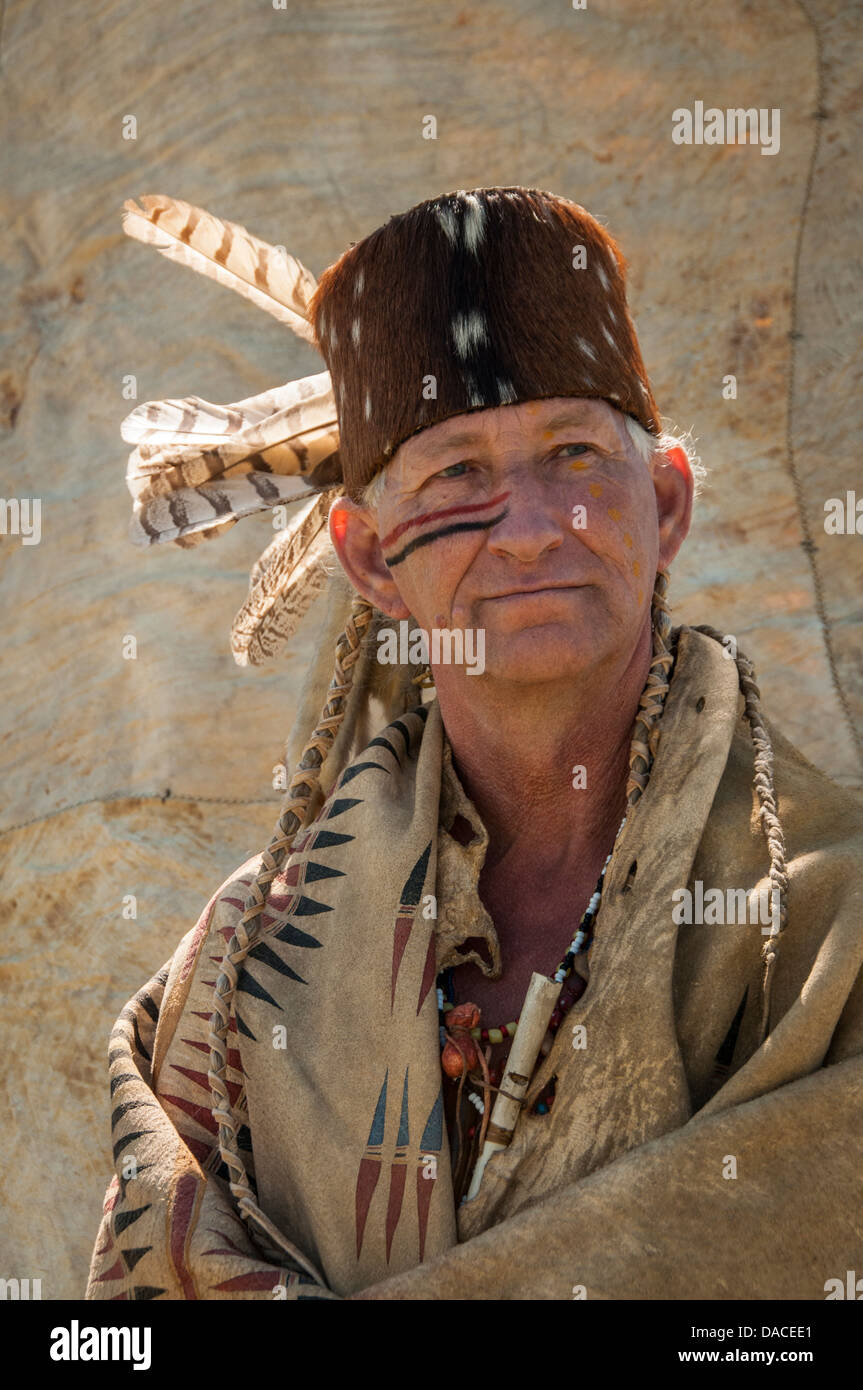 Native American man at annual Lewis and Clark Festival Great Falls Montana - Stock Image