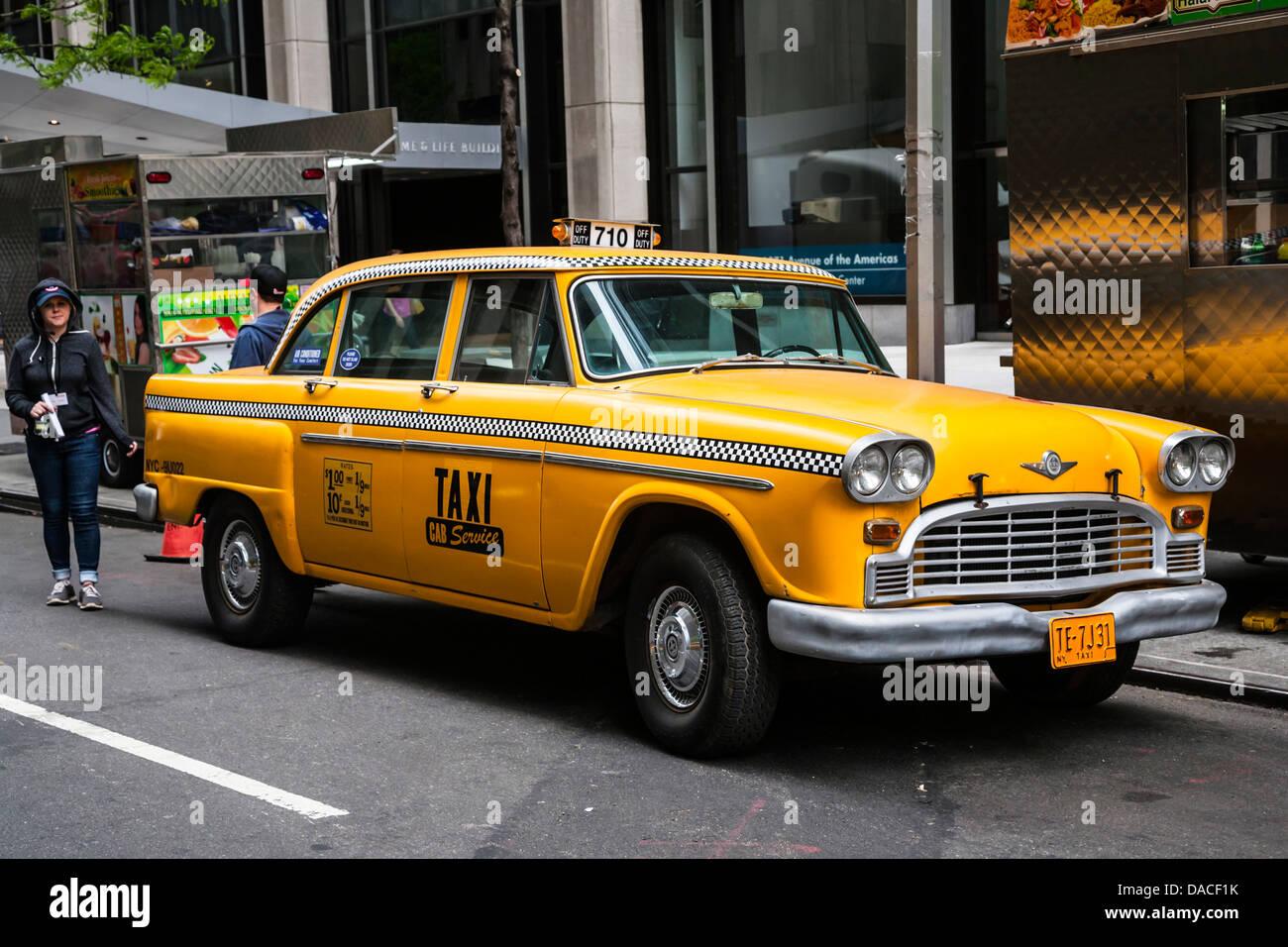 Vintage yellow New York taxi, NYC, USA. - Stock Image