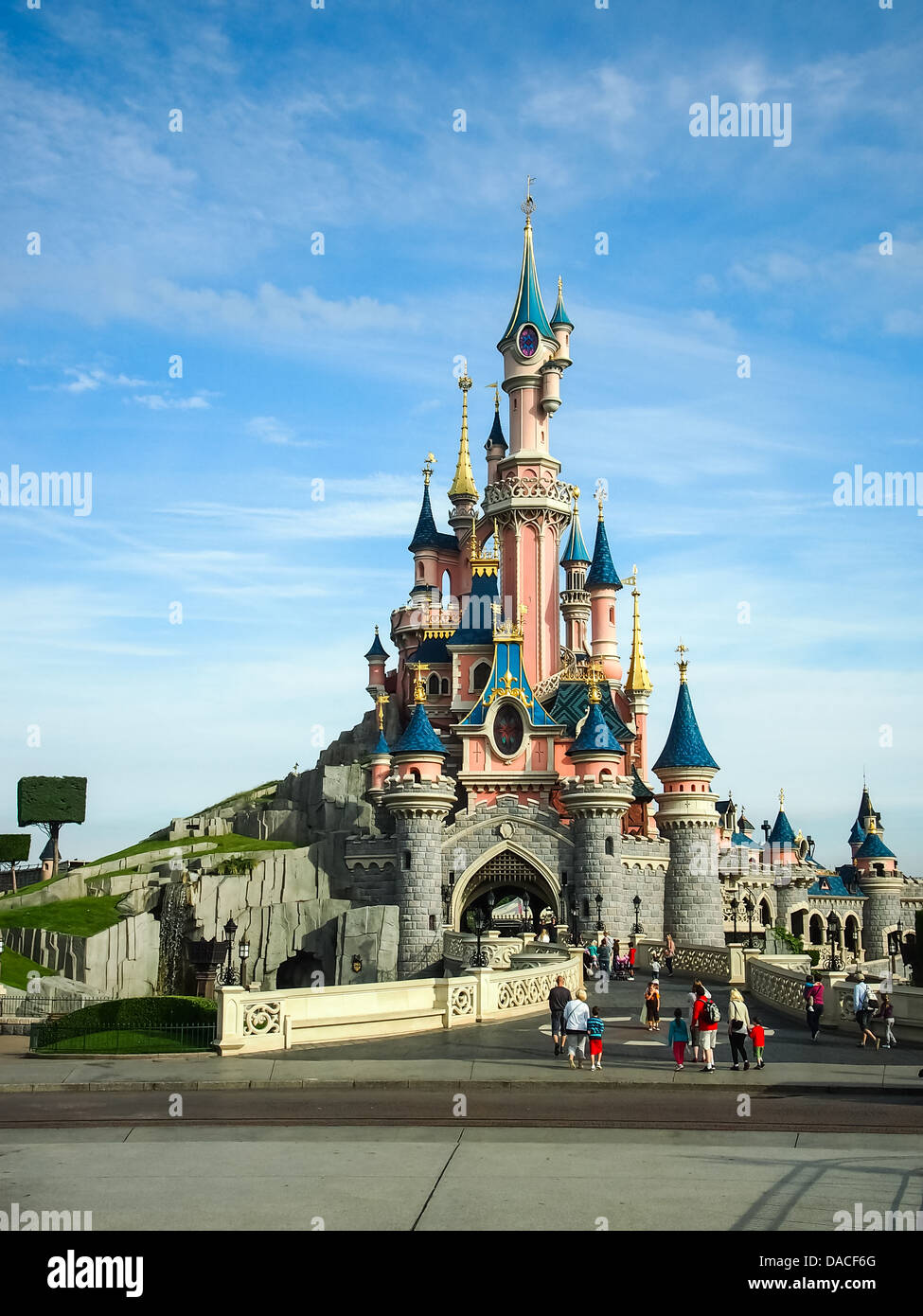 Sleeping Beauty's castle at Disneyland Paris, France. - Stock Image