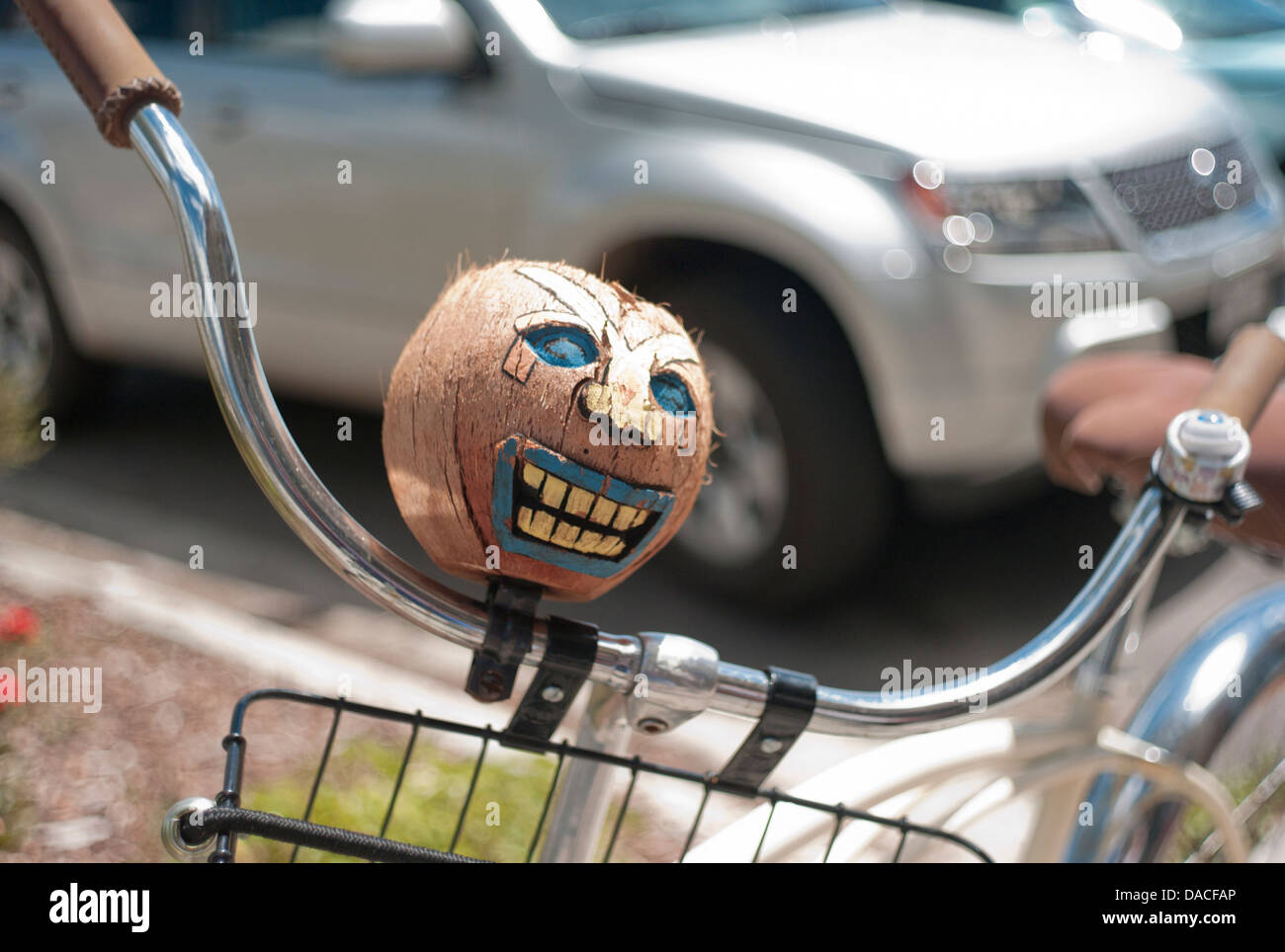 Grinning coconut head on bicycle handlebars. - Stock Image