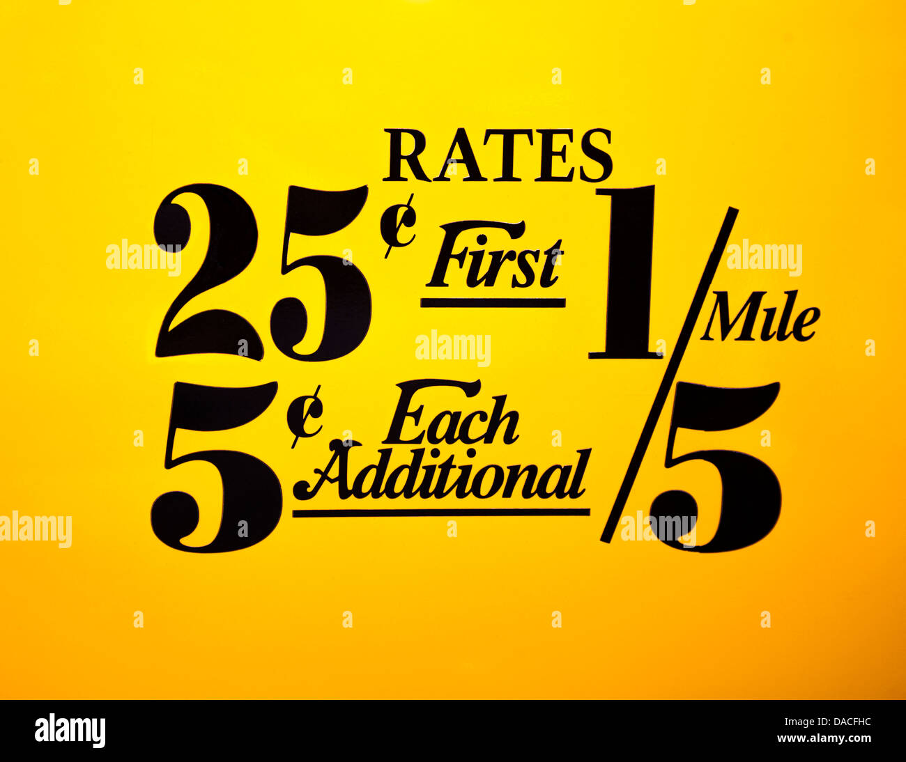 NYC taxi mileage rates displayed on a vintage yellow taxi door, New York City, USA. - Stock Image