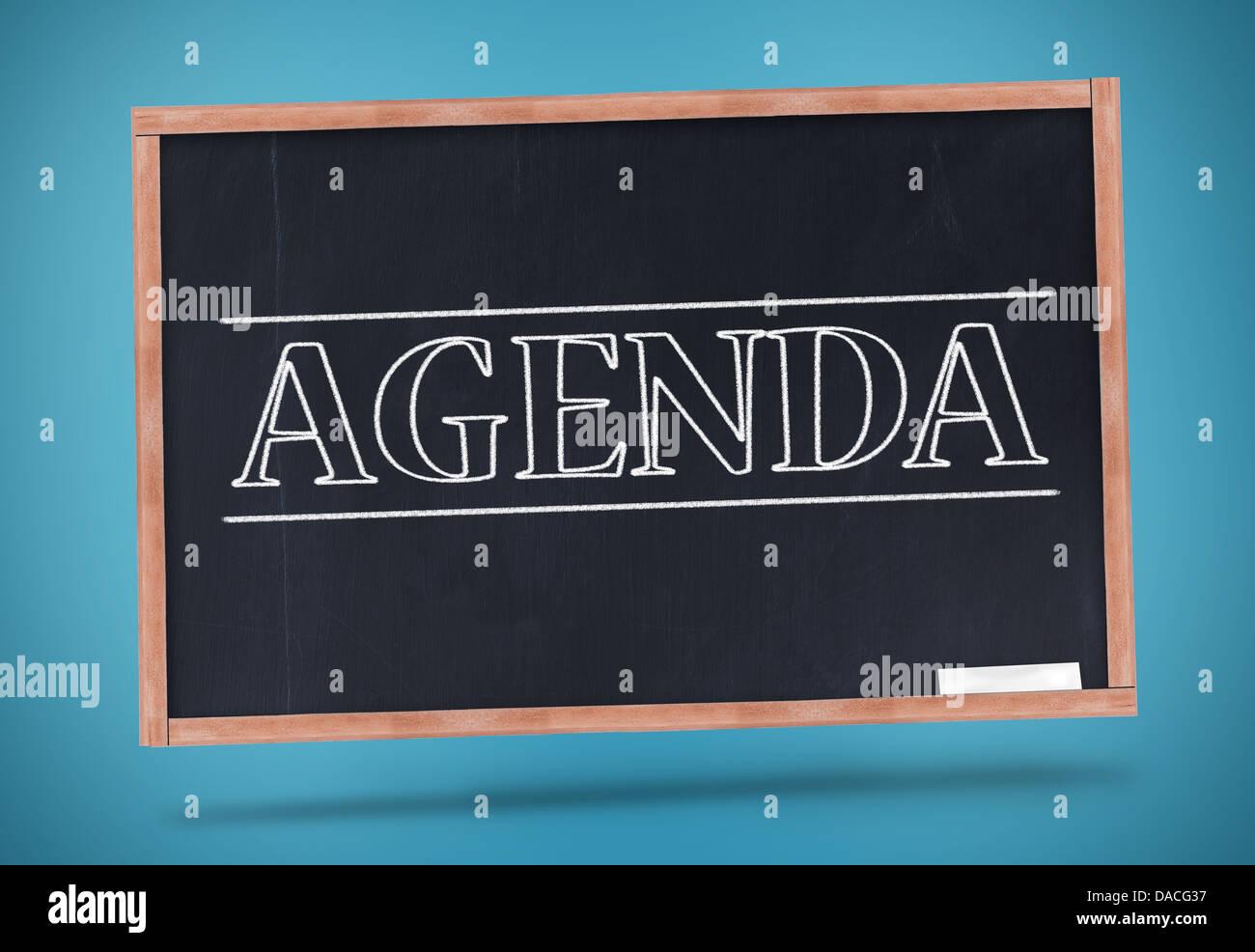 Agenda written in big capital letters - Stock Image