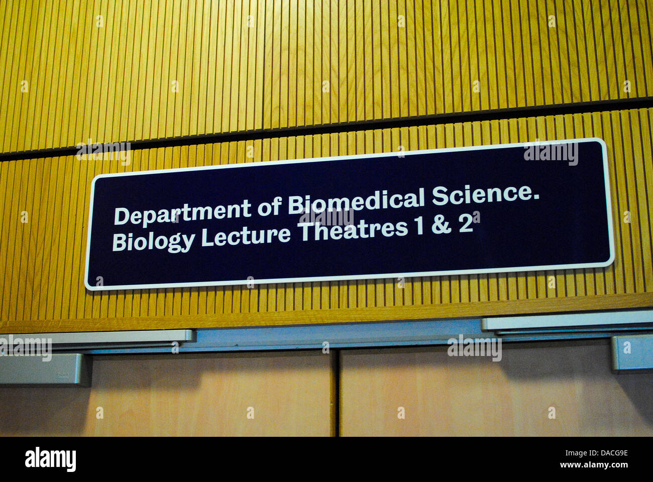 University of Sheffield Biomedical lecture sign - Stock Image