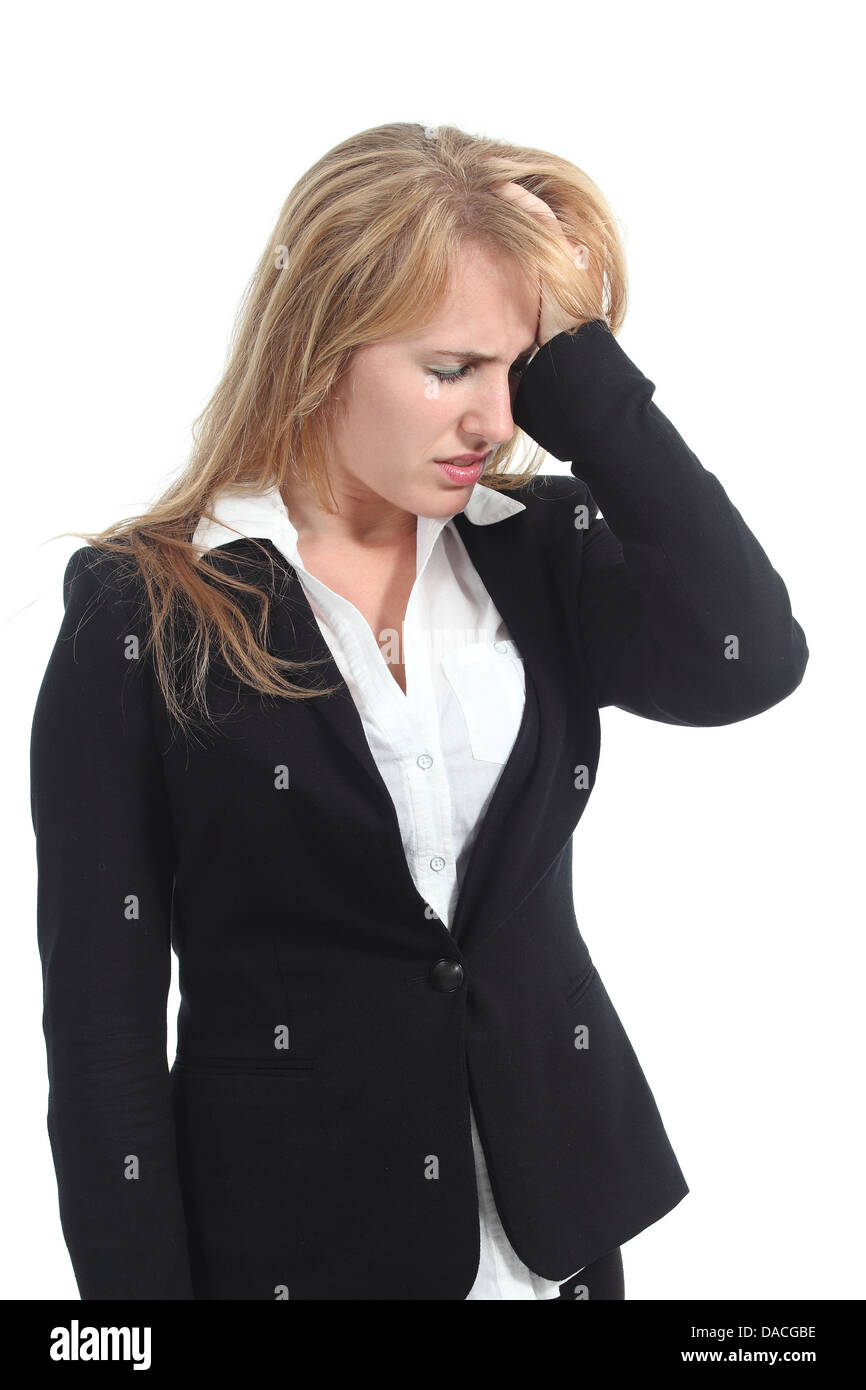 Stressed businesswoman with her hand in forehead isolated on a white background - Stock Image