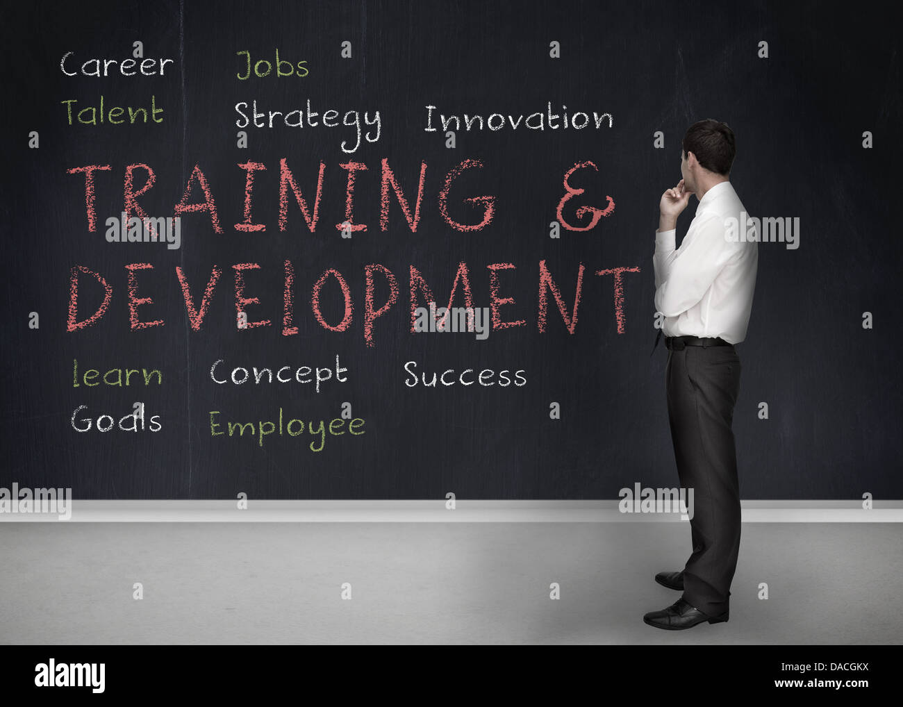 Training and development terms written on a blackboard - Stock Image