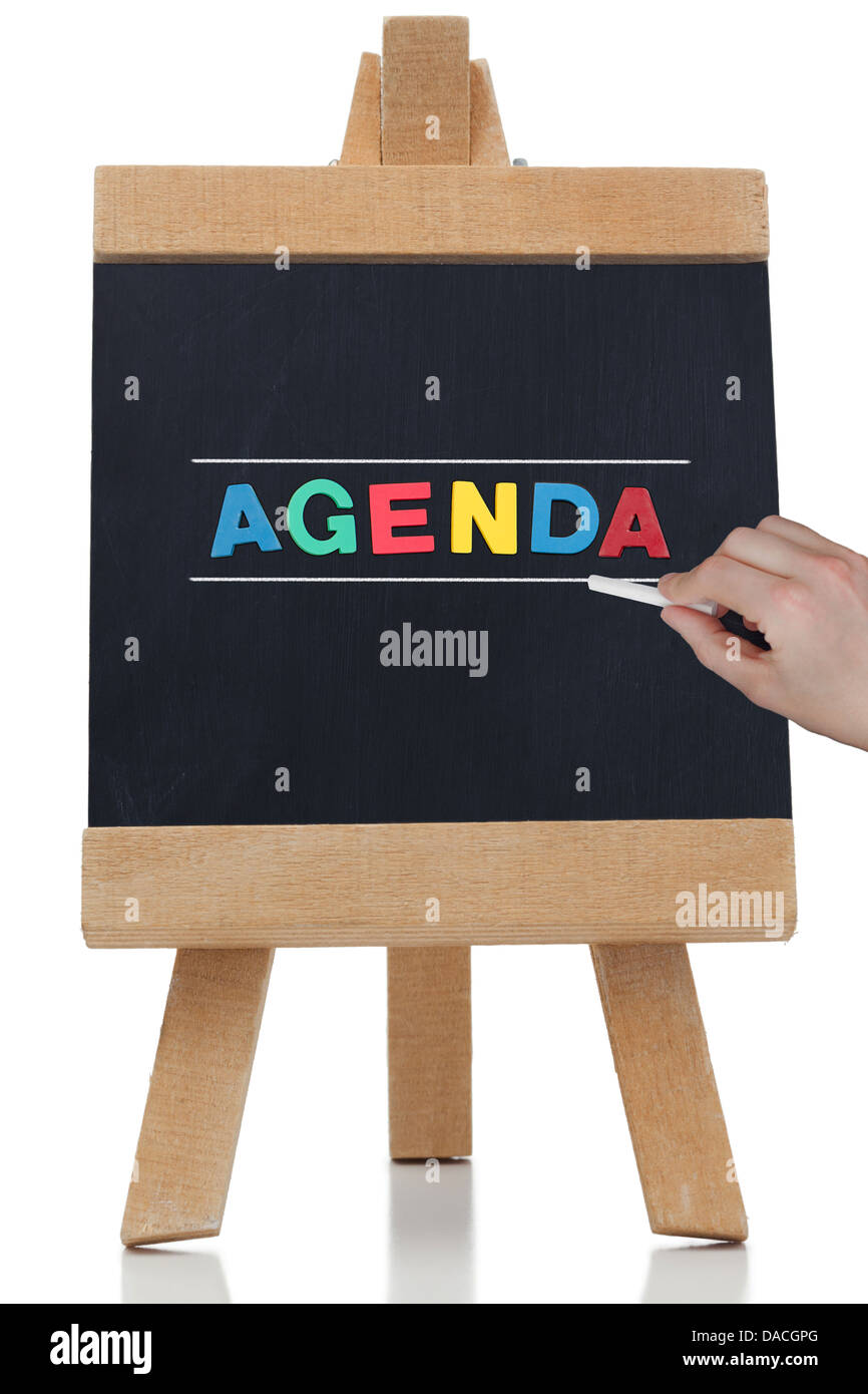 Agenda written in colored letters - Stock Image