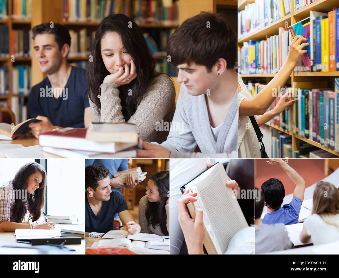 Collage of students in library - Stock Image