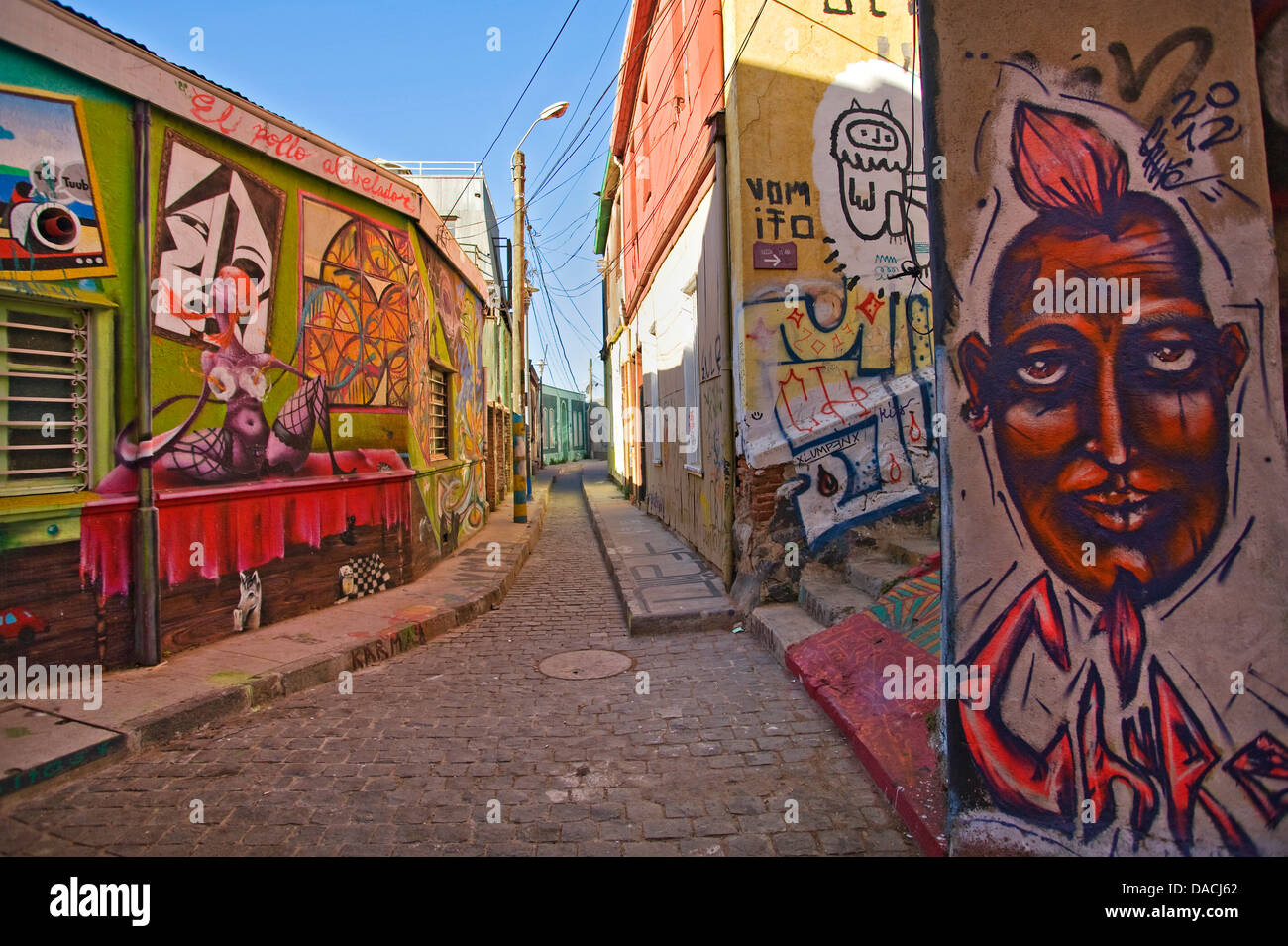 Street scene in Valparaiso, Chile - Stock Image