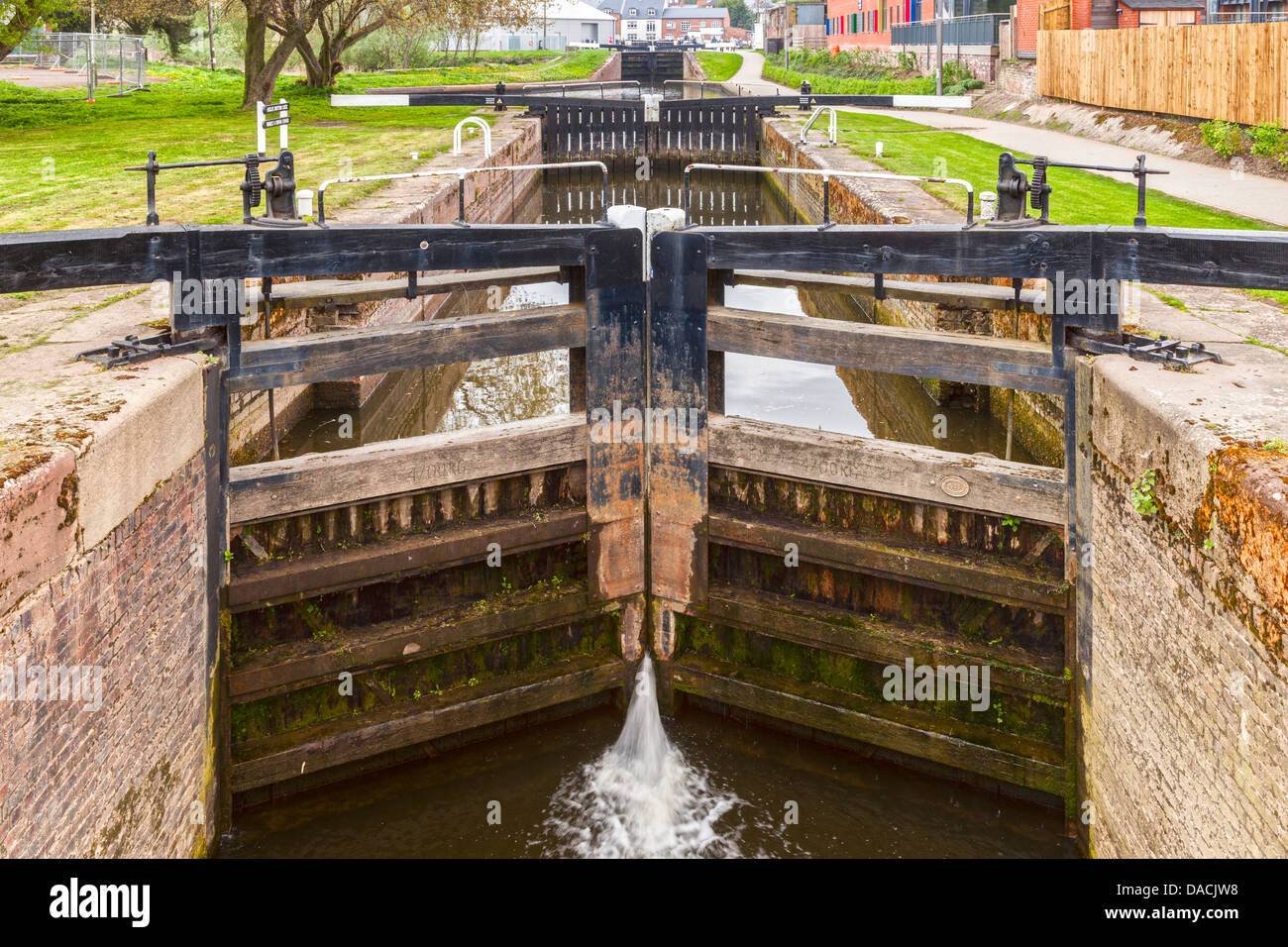 Diglis Bottom Lock on the Worcester Birmingham Canal near the junction with the River Severn at Diglis, Worcester, - Stock Image