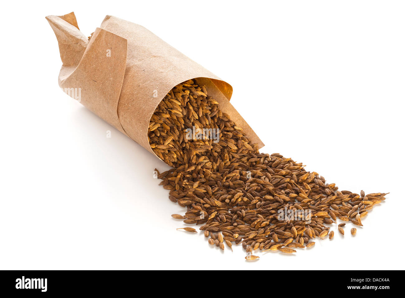 Roasted cumin seeds spilling from twist of brown paper, on white background with soft natural shadow, front to back - Stock Image