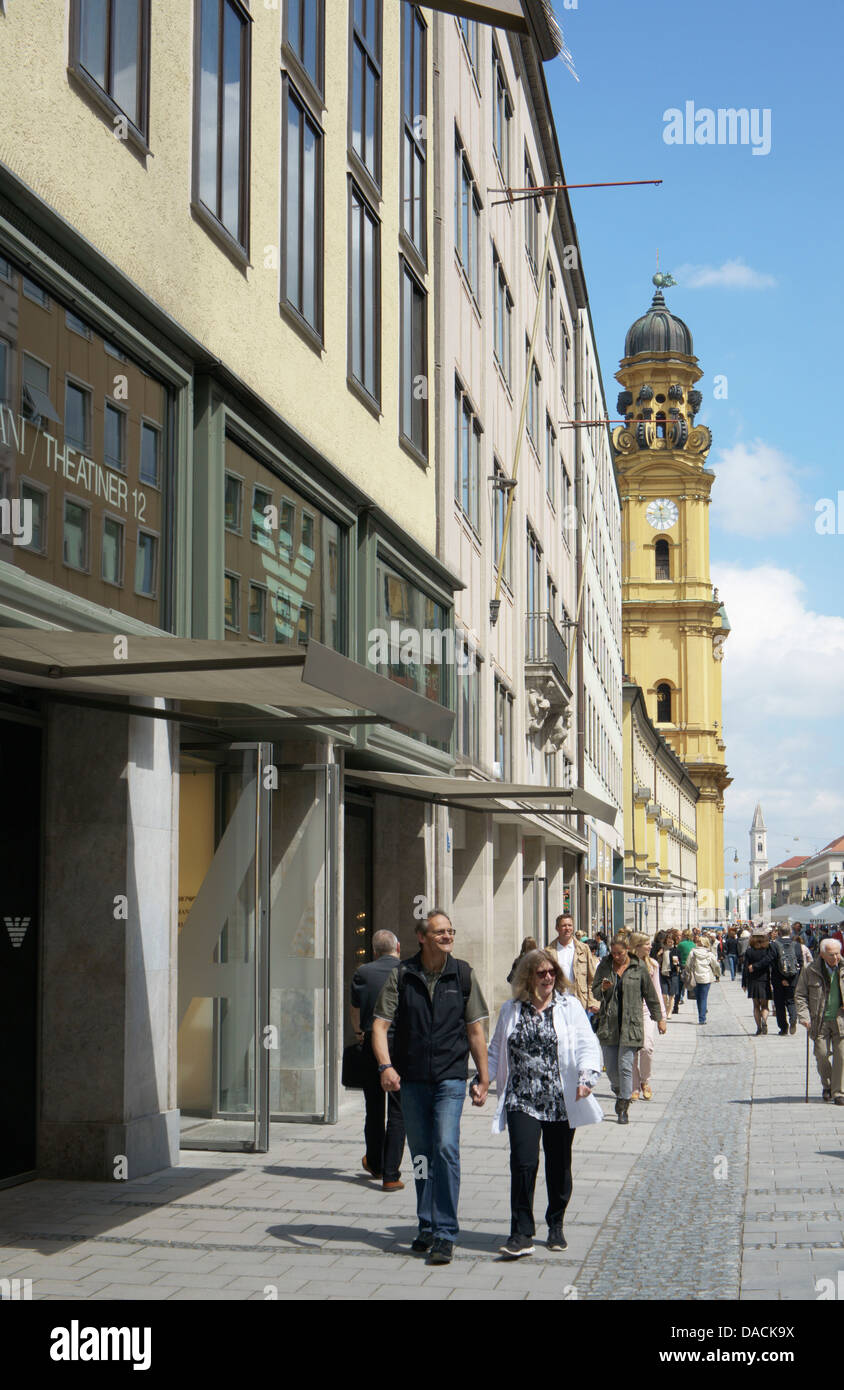 Theatinerstrasse, looking north, Munich, Germany - Stock Image
