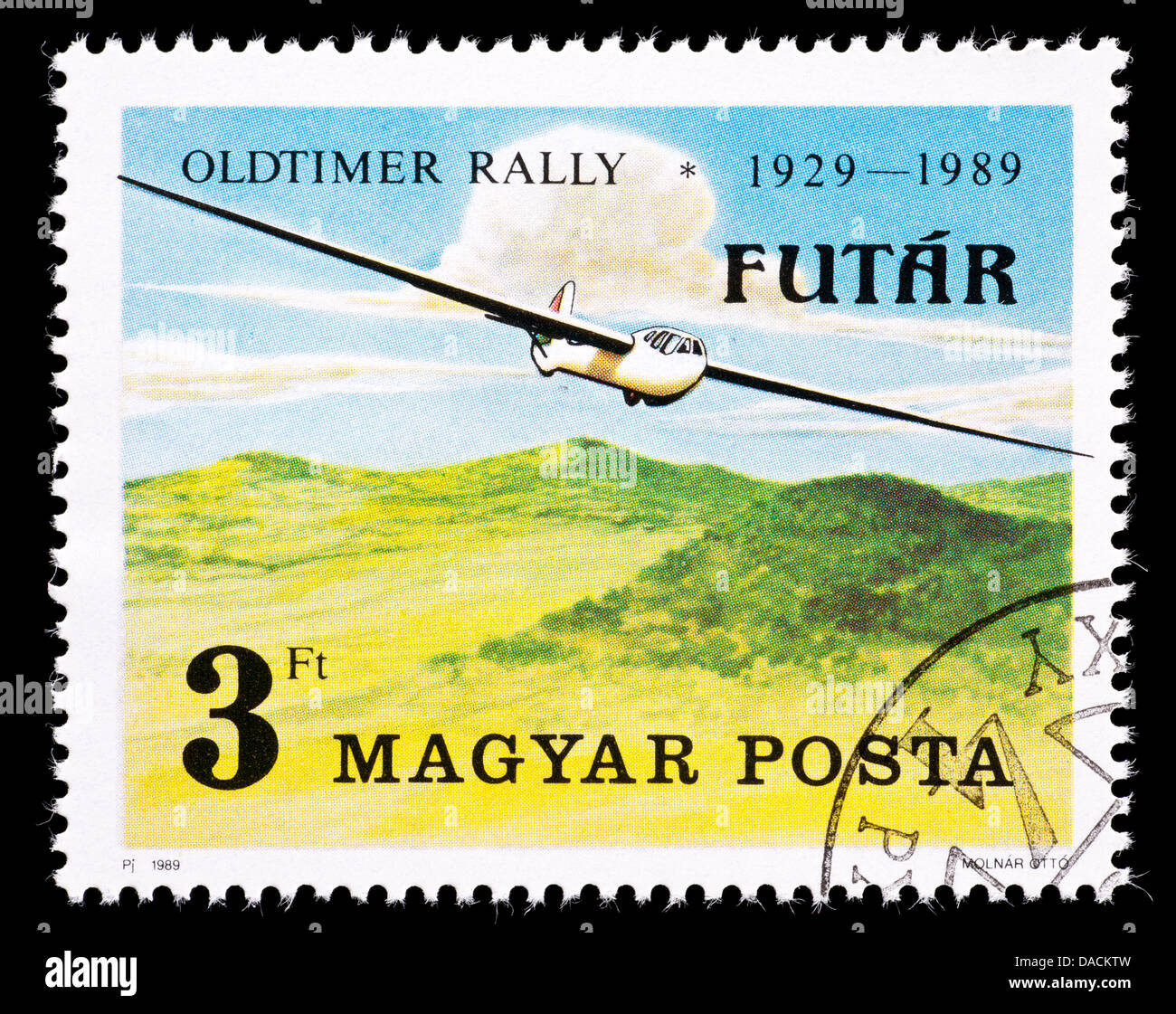 Postage stamp from Hungary depicting a glider, issued for the 17'th International Oldtimers Rally, Budakeszi - Stock Image