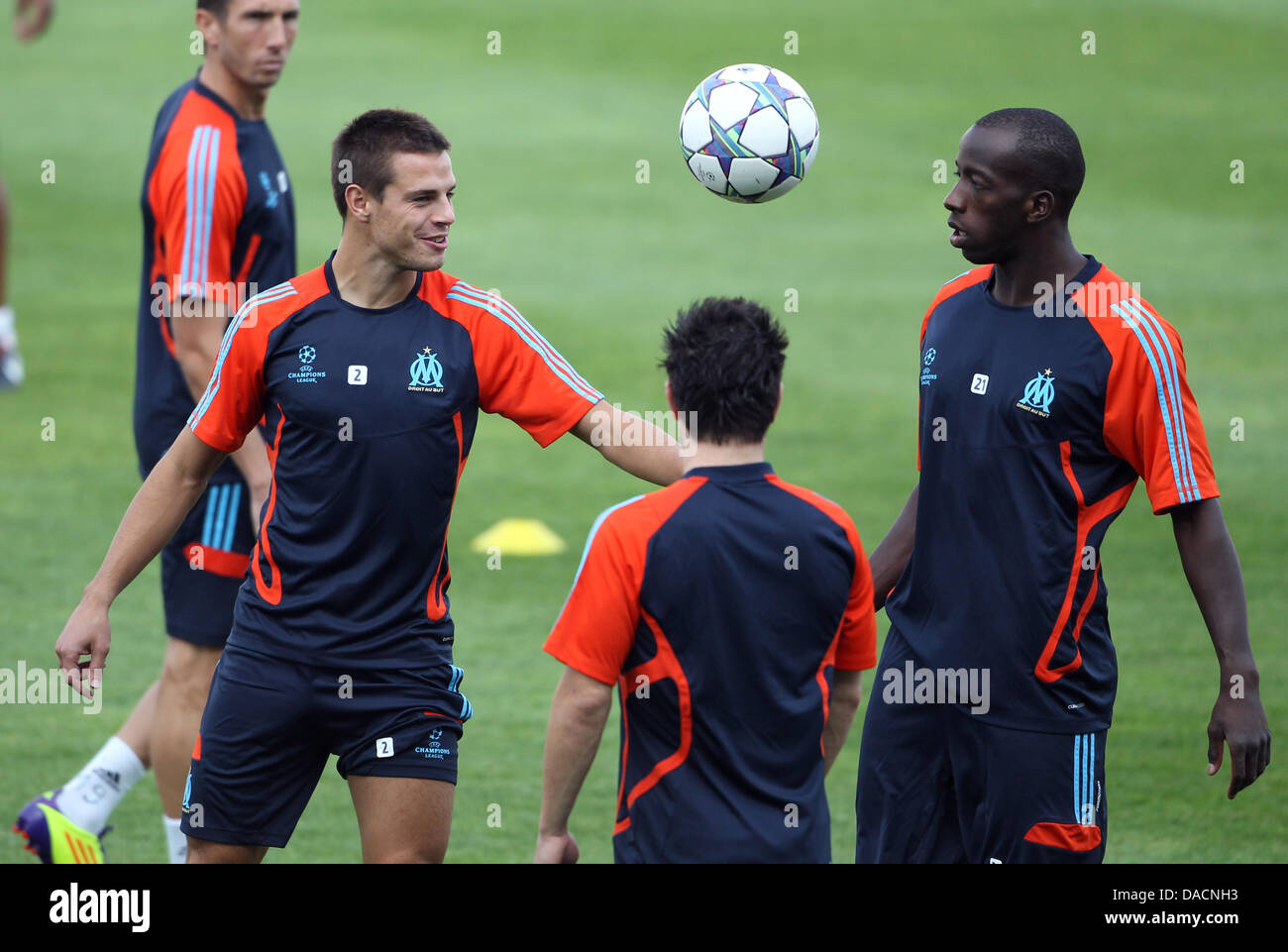 Azpi (l) and Diawara (r) of Olympique Marseille attends a training session at the Stade Velodrome in Marseille, - Stock Image