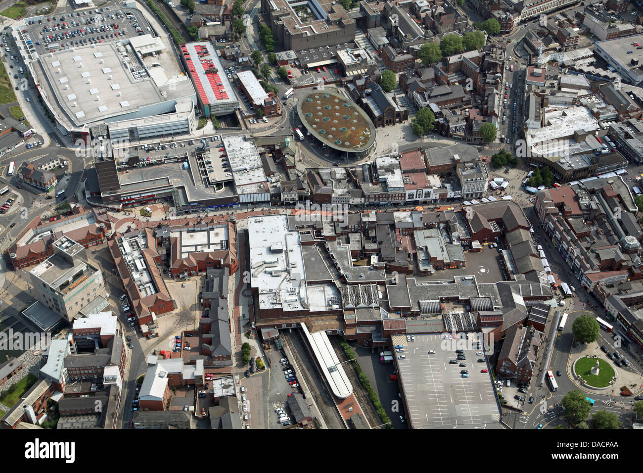 aerial view of Walsall town centre - Stock Image