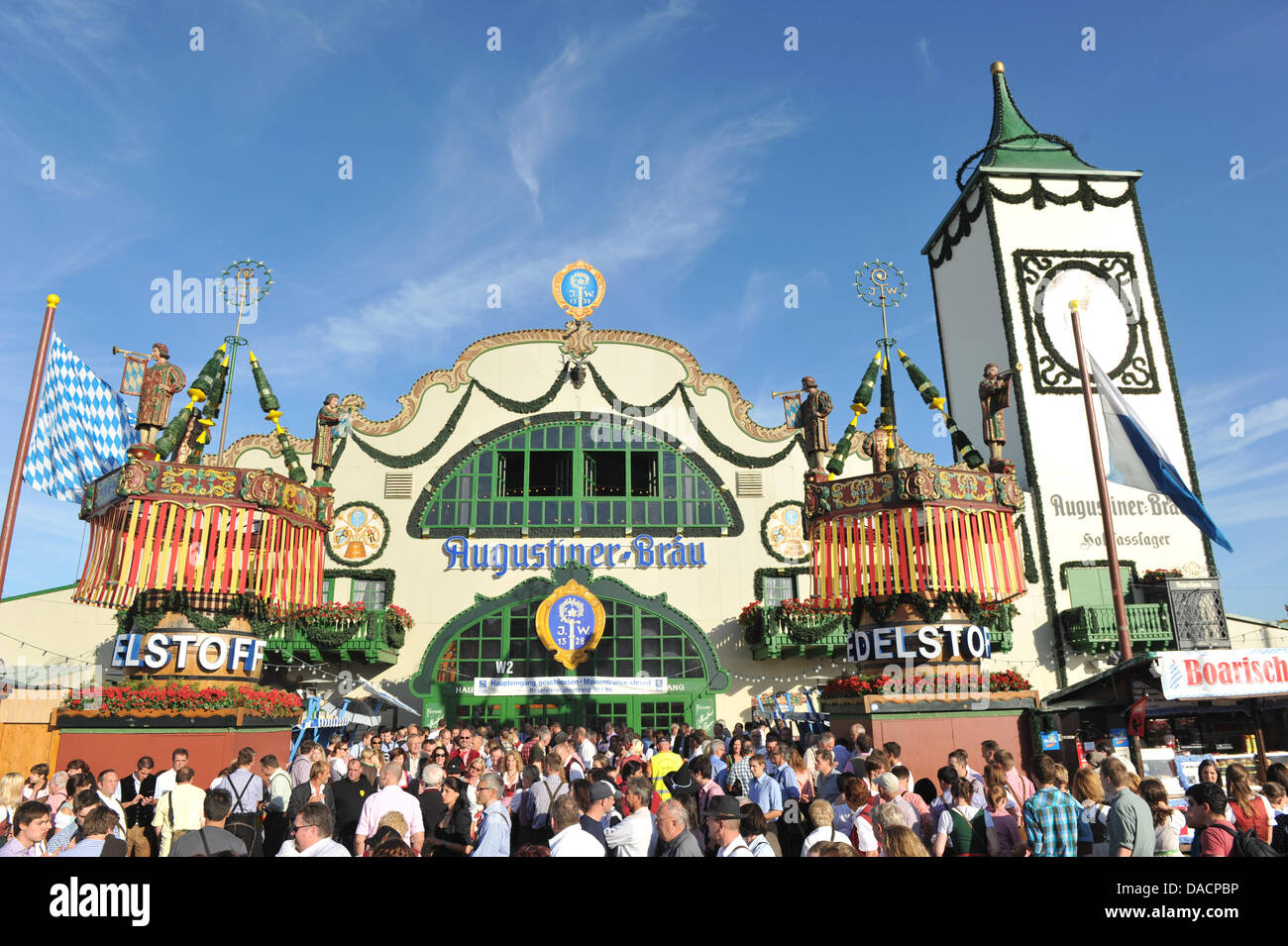 The Augustiner-Festhalle tent on the Oktoberfest grounds is pictured in Munich, Germany, 29 September 2011. The Stock Photo