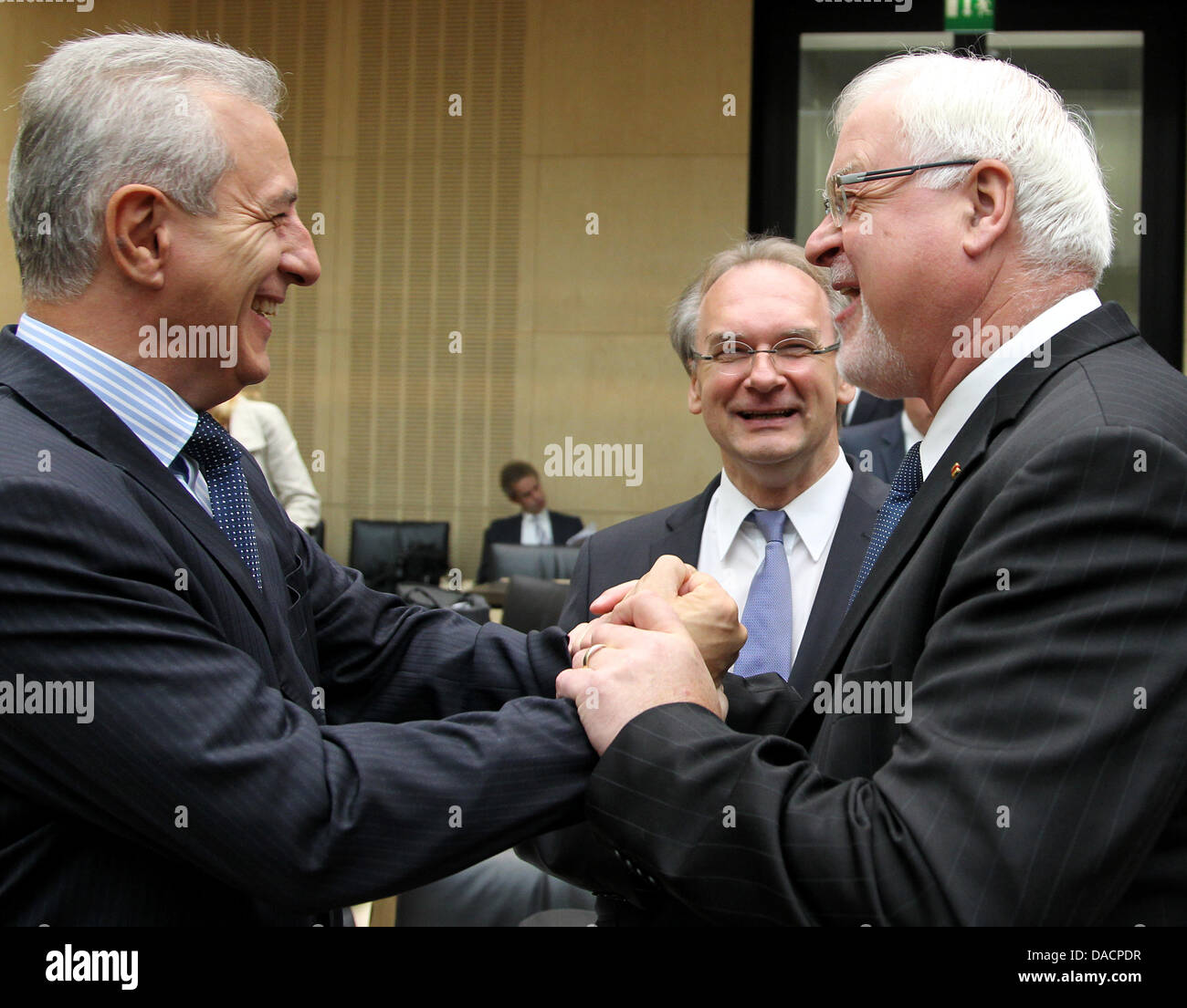 The Prime Ministers, Stanislaw Tillich of Saxony, Reiner Haseloff of Saxony-Anhalt and Peter Harry Carstensen of - Stock Image
