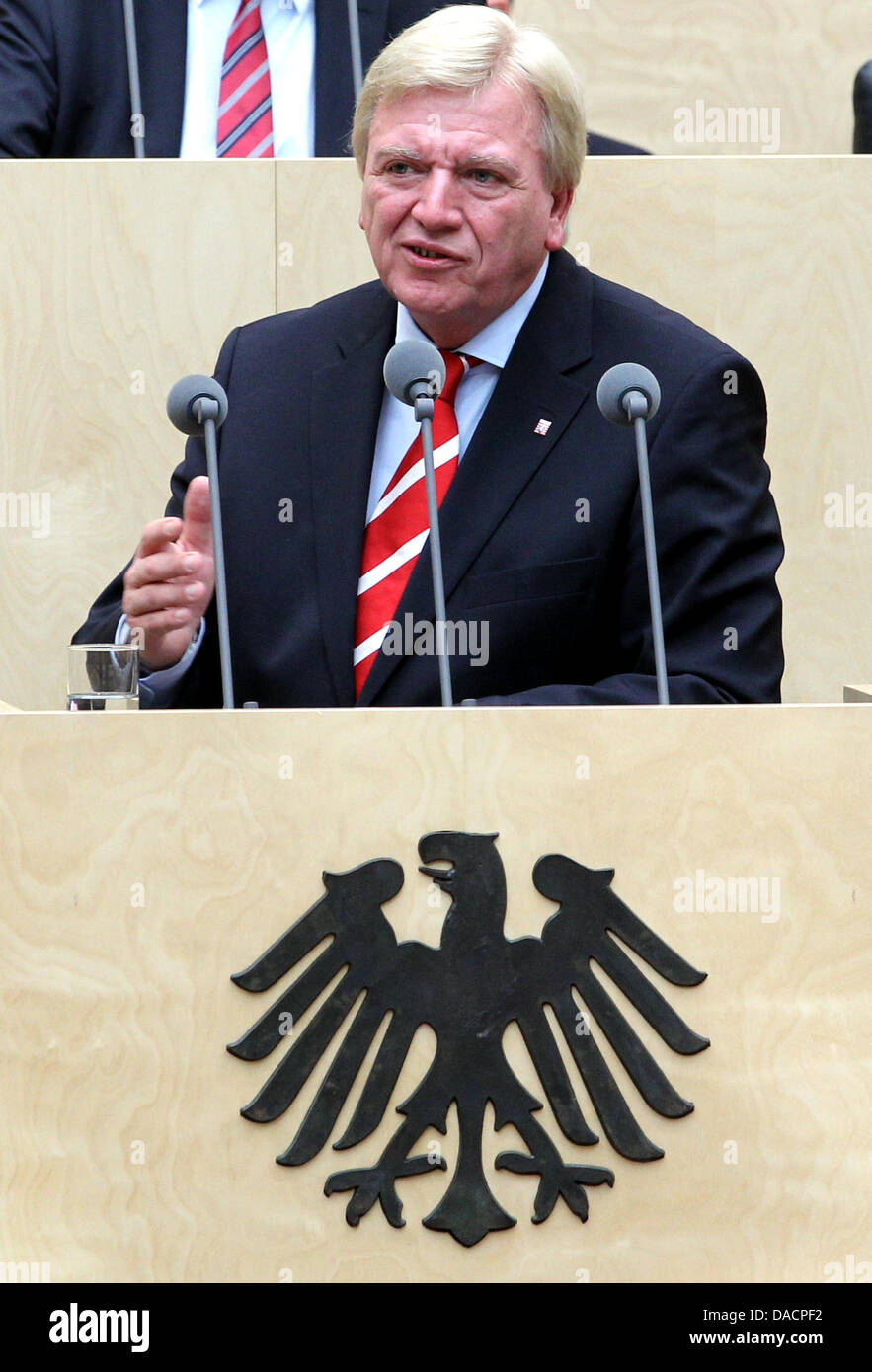 The Hessian Prime Minister Volker Bouffier speaks during an extracurricular session of the Bundesrat on the Euro Stock Photo