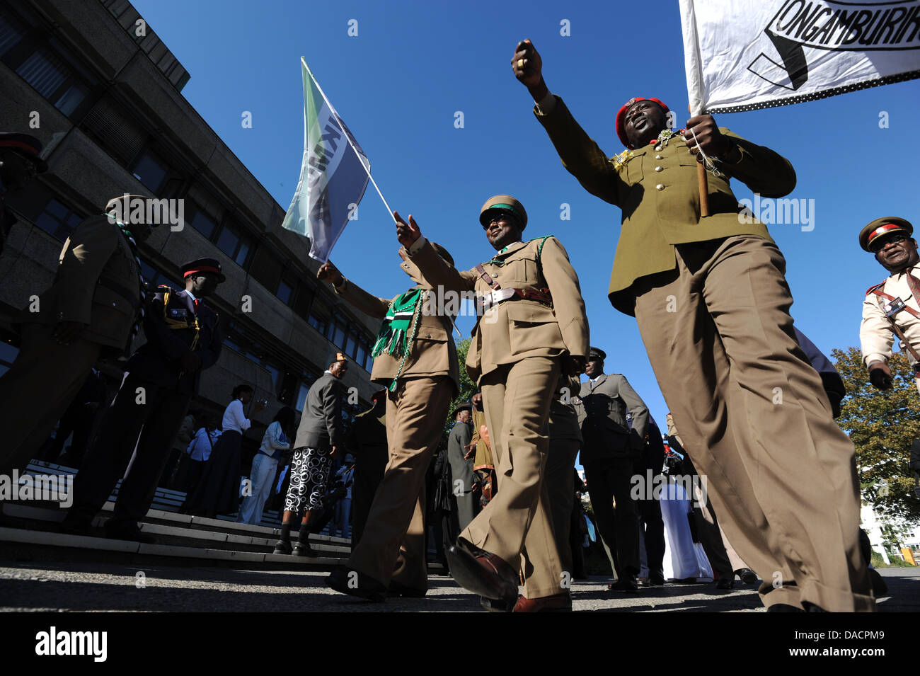 A ceremony is carried out before the return of 20 skulls to the victims' organization 'Ovaherero/Ovambanderu - Stock Image